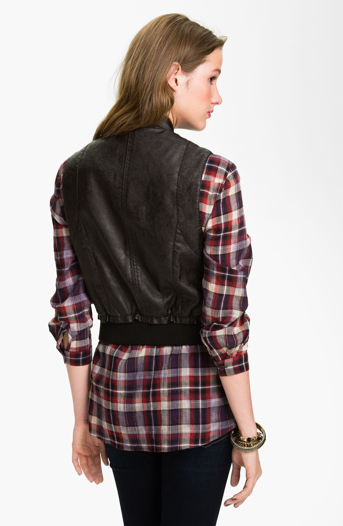 Alternate Image 2  - Jou Jou Faux Leather Biker Vest (Juniors)