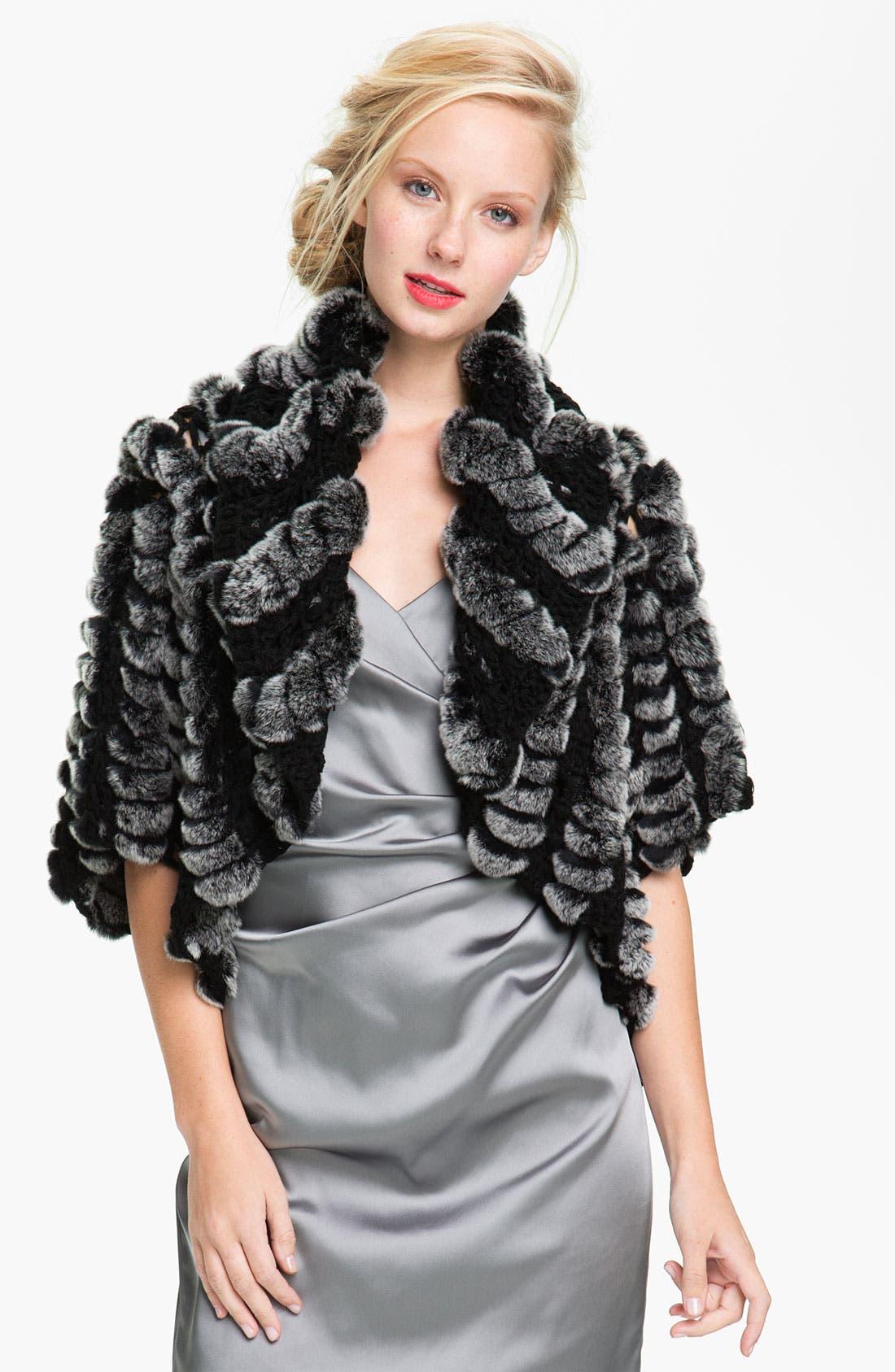 Alternate Image 1 Selected - Alexia Admor Crochet & Genuine Rabbit Fur Capelet