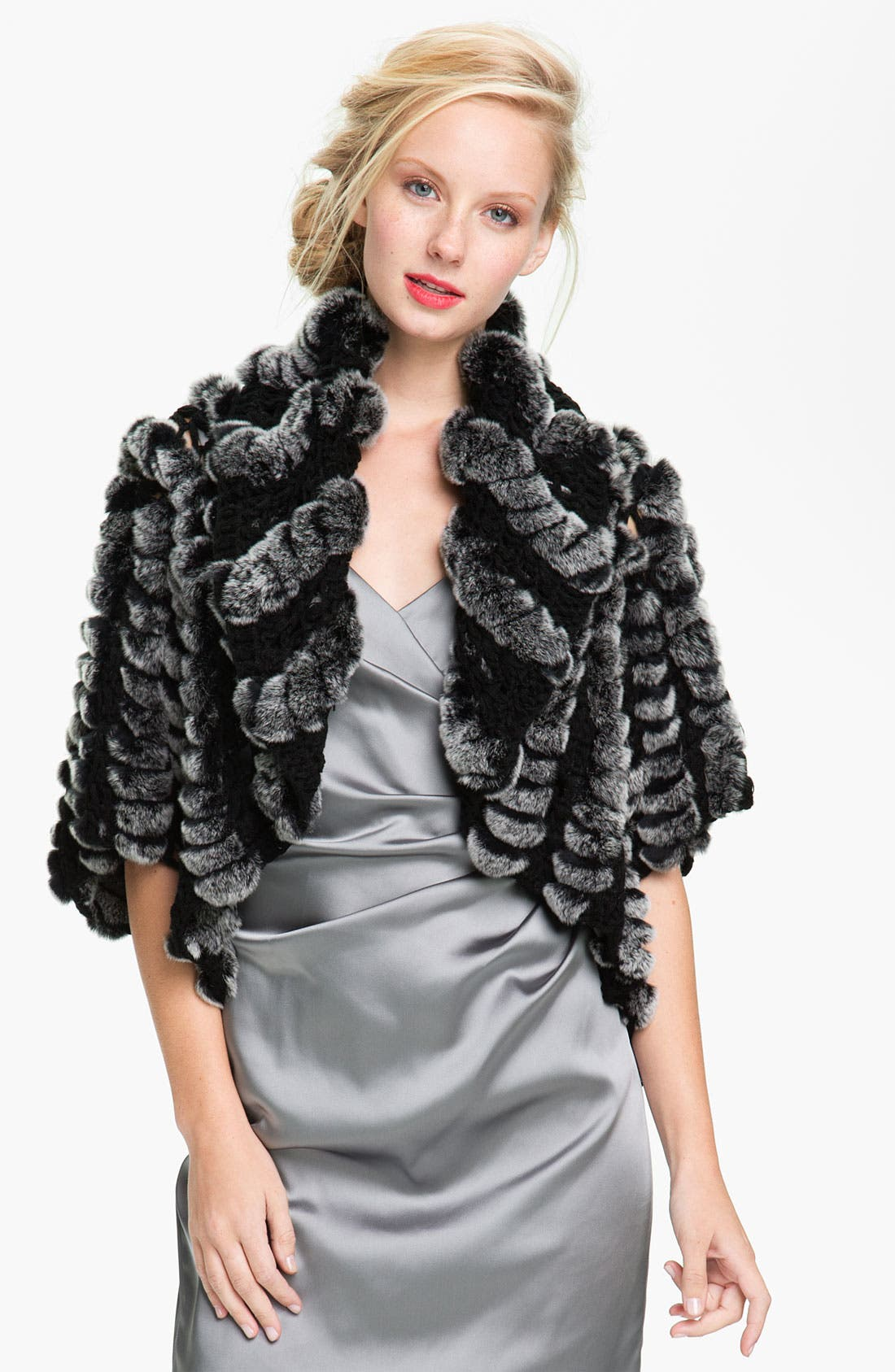 Main Image - Alexia Admor Crochet & Genuine Rabbit Fur Capelet