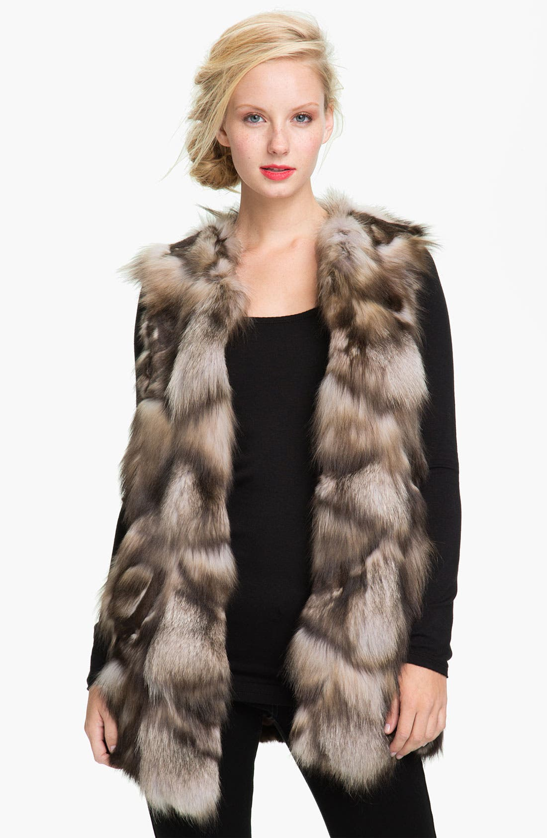 Main Image - Linda Richards Fox Fur Vest