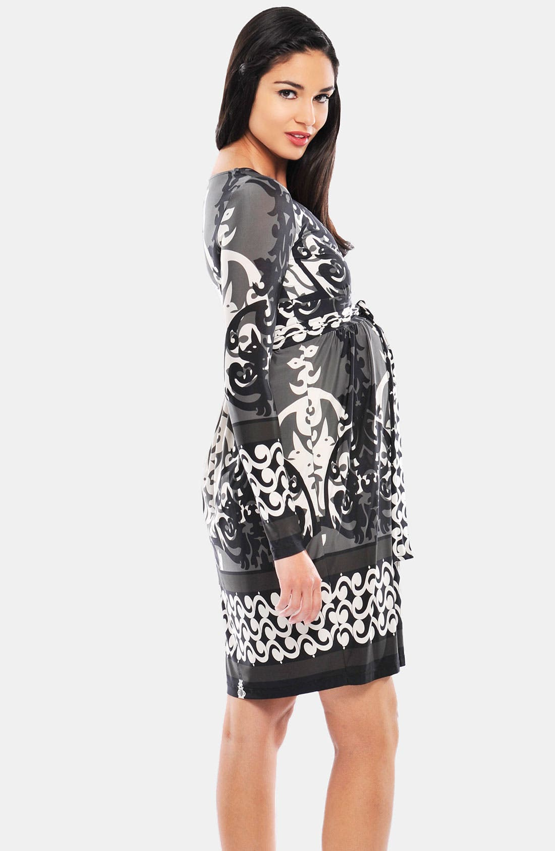 Alternate Image 2  - Olian Geometric Print Maternity Maxi Dress