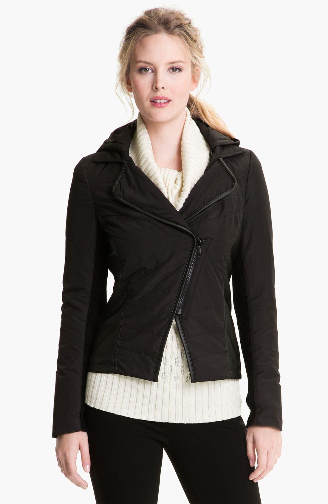 Main Image - Lafayette 148 New York Hooded Mixed Media Jacket