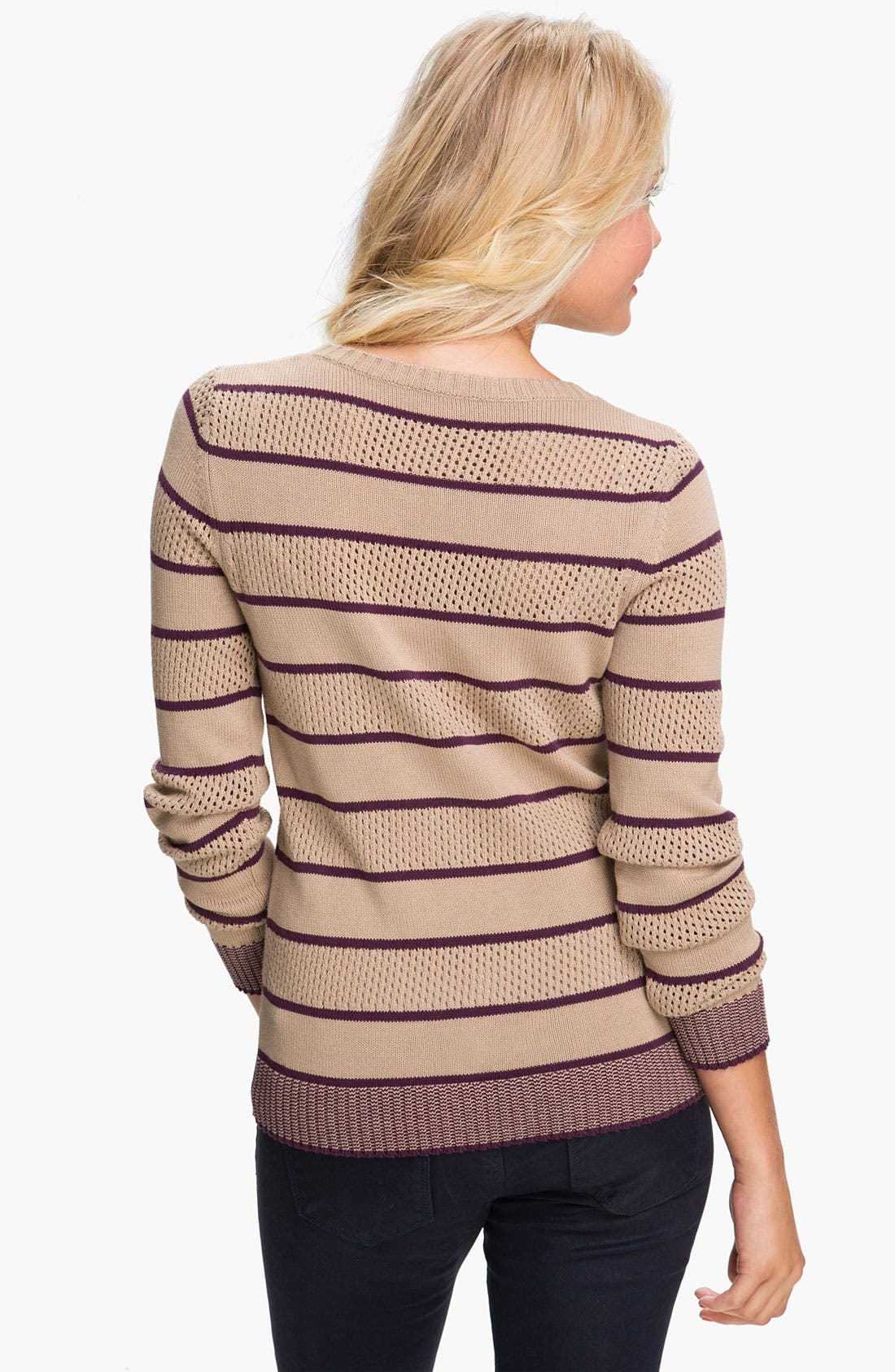 Alternate Image 2  - BP. Stripe Pointelle Sweater (Juniors)