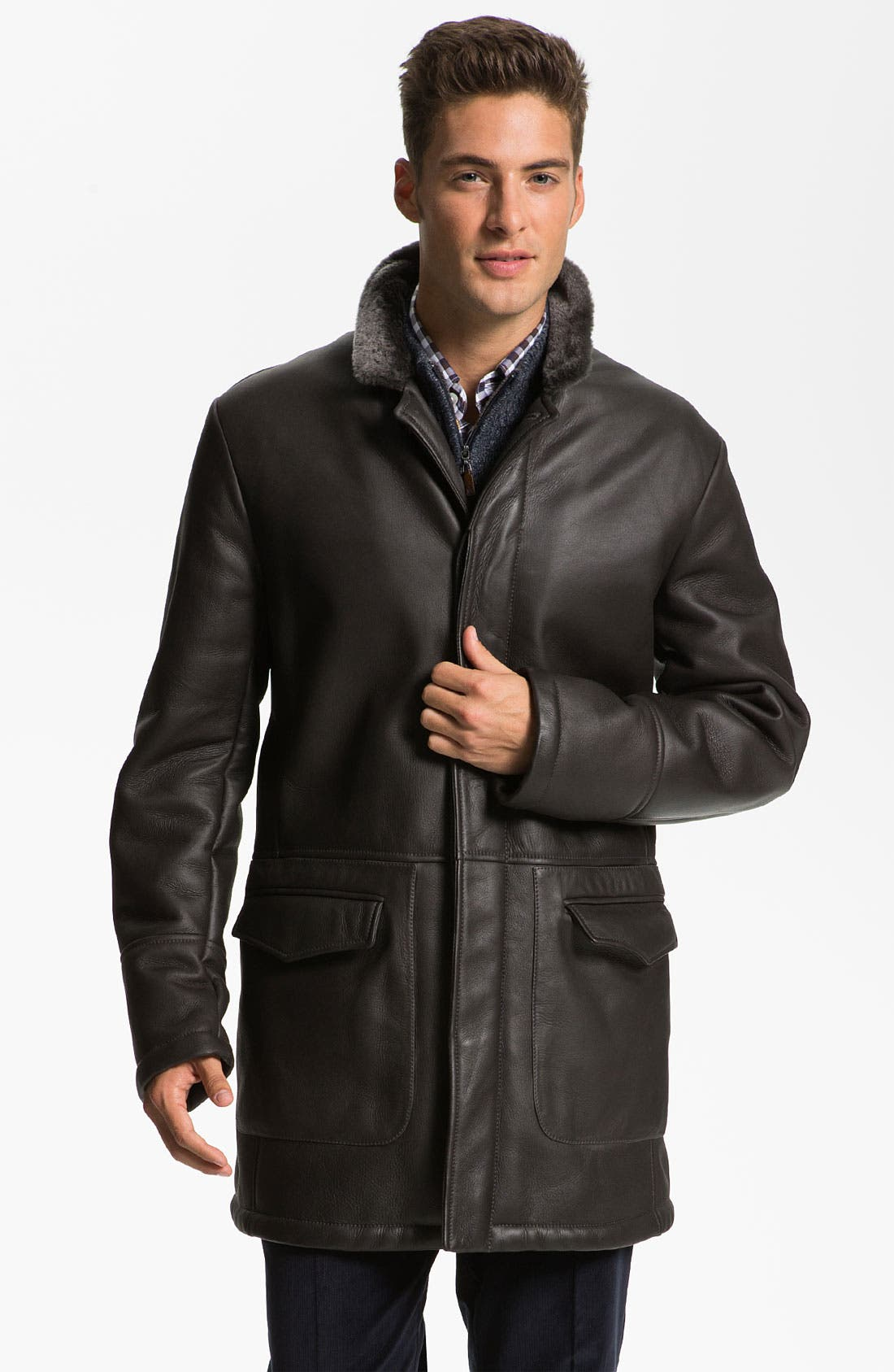 Main Image - Canali Shearling-Lined Leather Coat