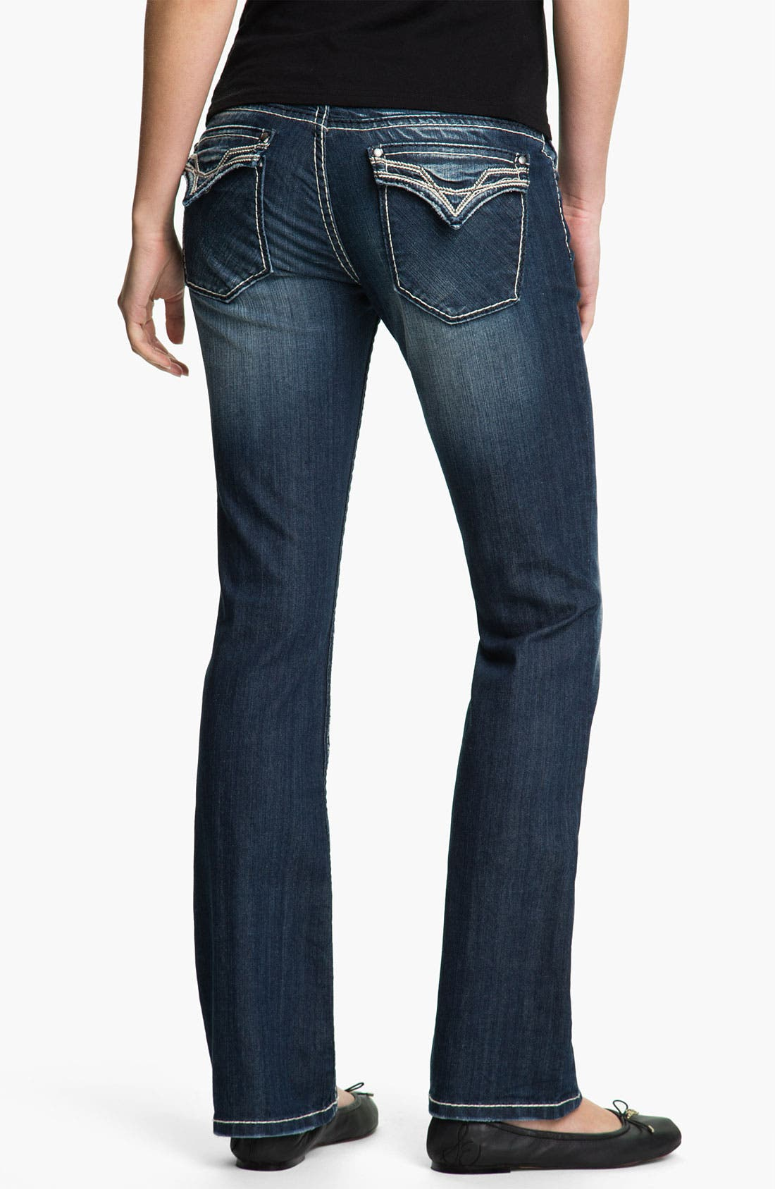 Main Image - Vigoss Embroidered Pocket Bootcut Jeans (Juniors)