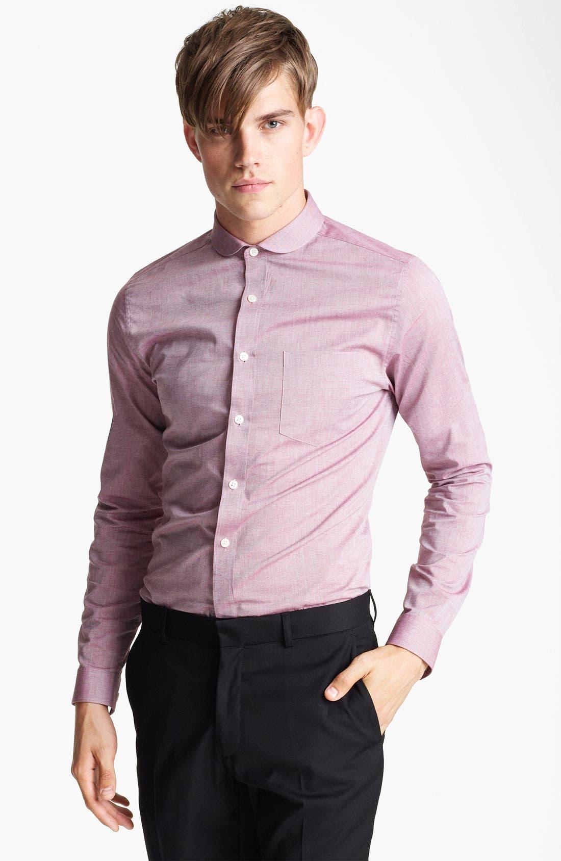 Main Image - Topman Chambray Extra Trim Woven Dress Shirt