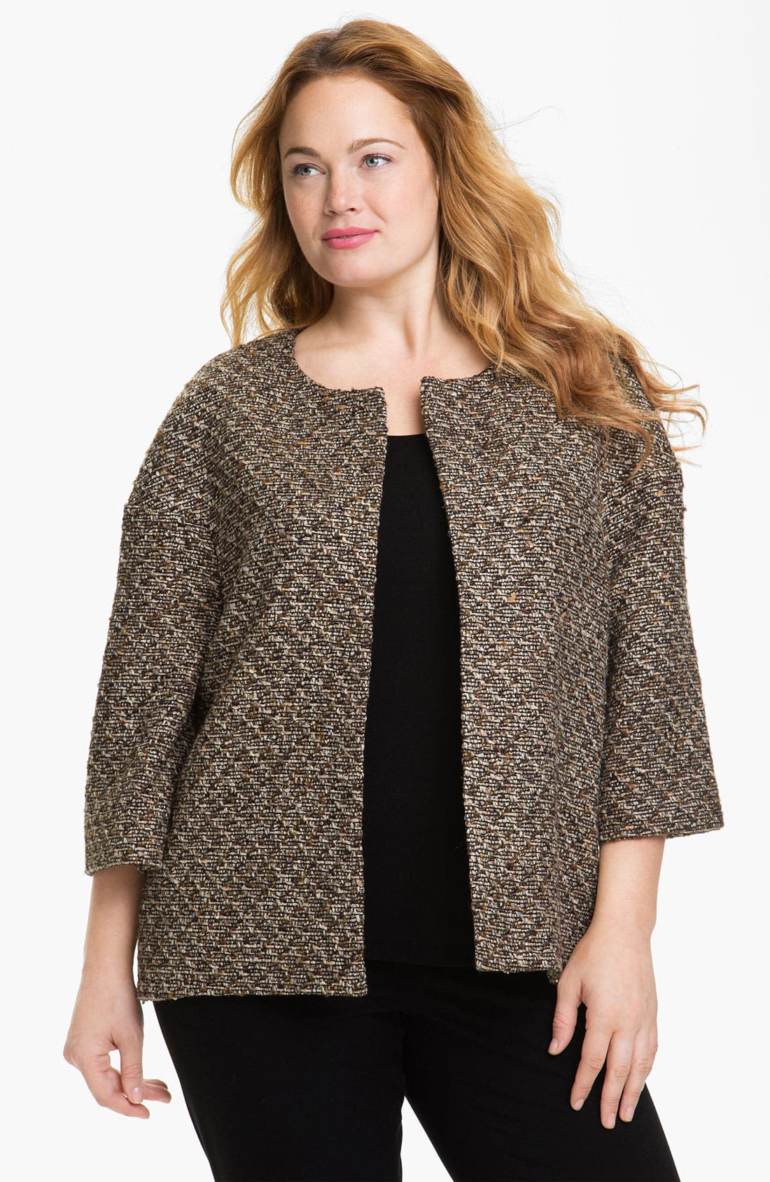 Main Image - Louben Collarless Tweed Jacket (Plus)