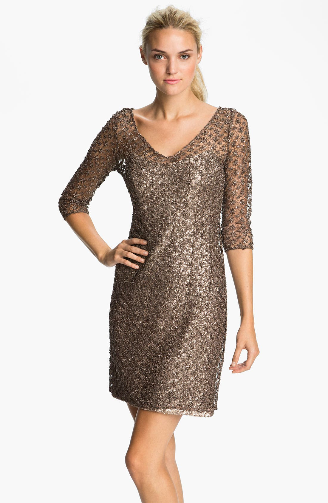 Alternate Image 1 Selected - Kay Unger Double V-Neck Metallic Overlay Dress