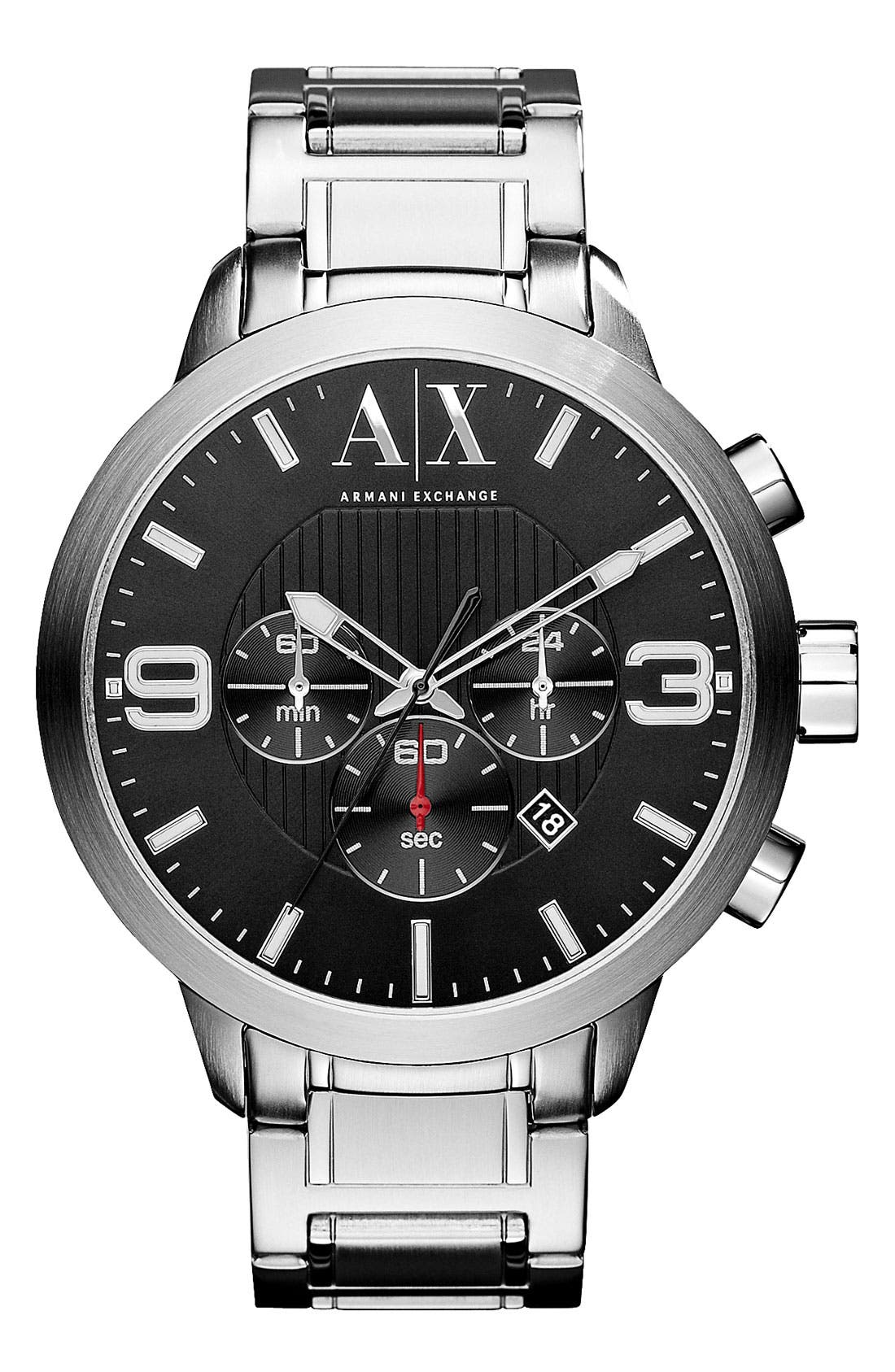 Main Image - AX Armani Exchange Round Chronograph Bracelet Watch, 47mm