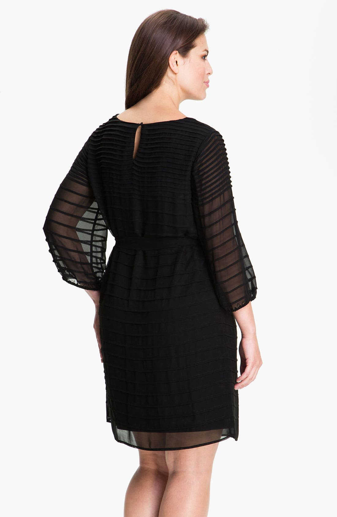 Alternate Image 2  - Calvin Klein Belted Pintuck Chiffon Dress (Plus)
