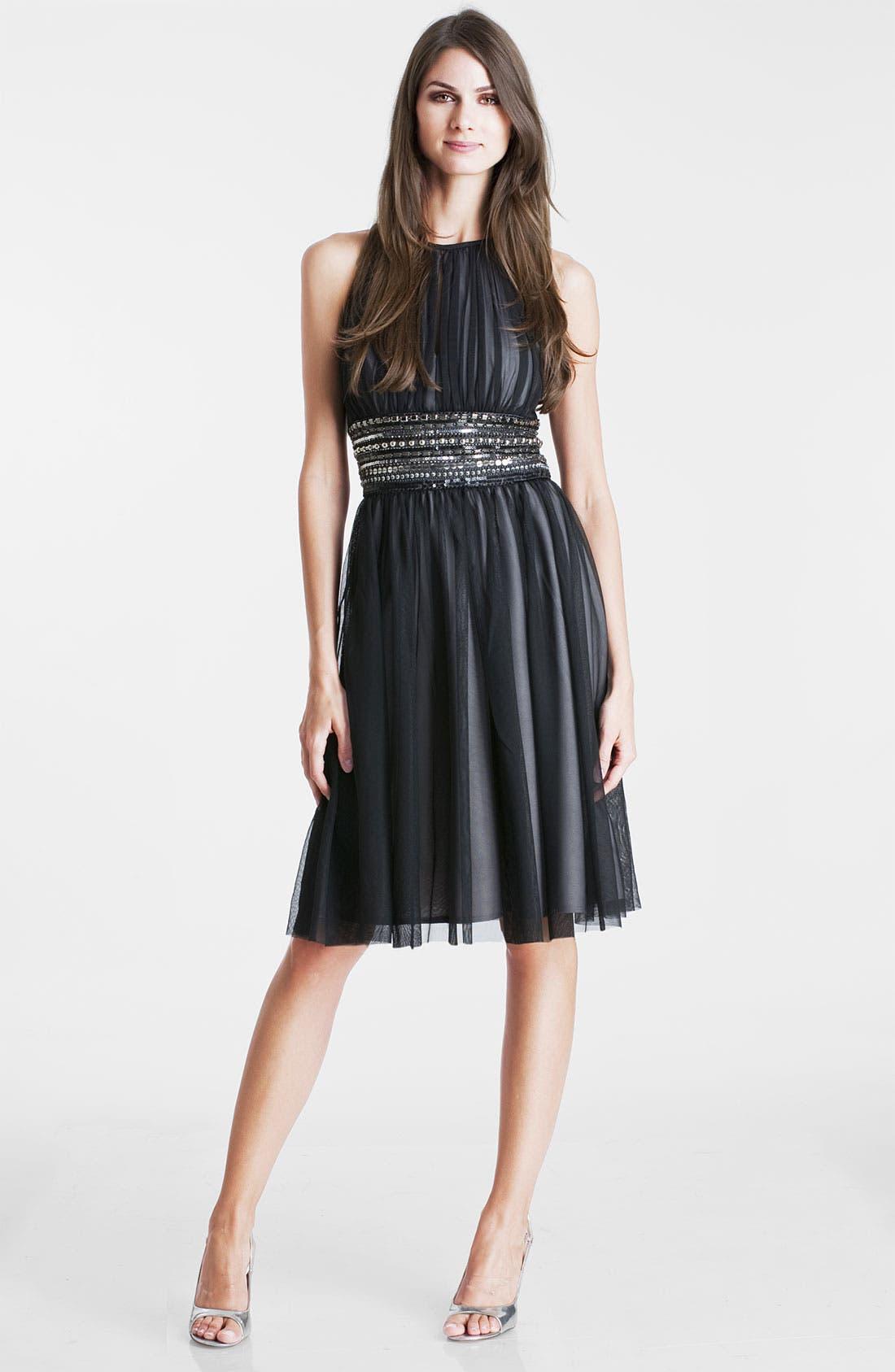 Main Image - JS Boutique Embellished Waist Mesh Overlay Dress