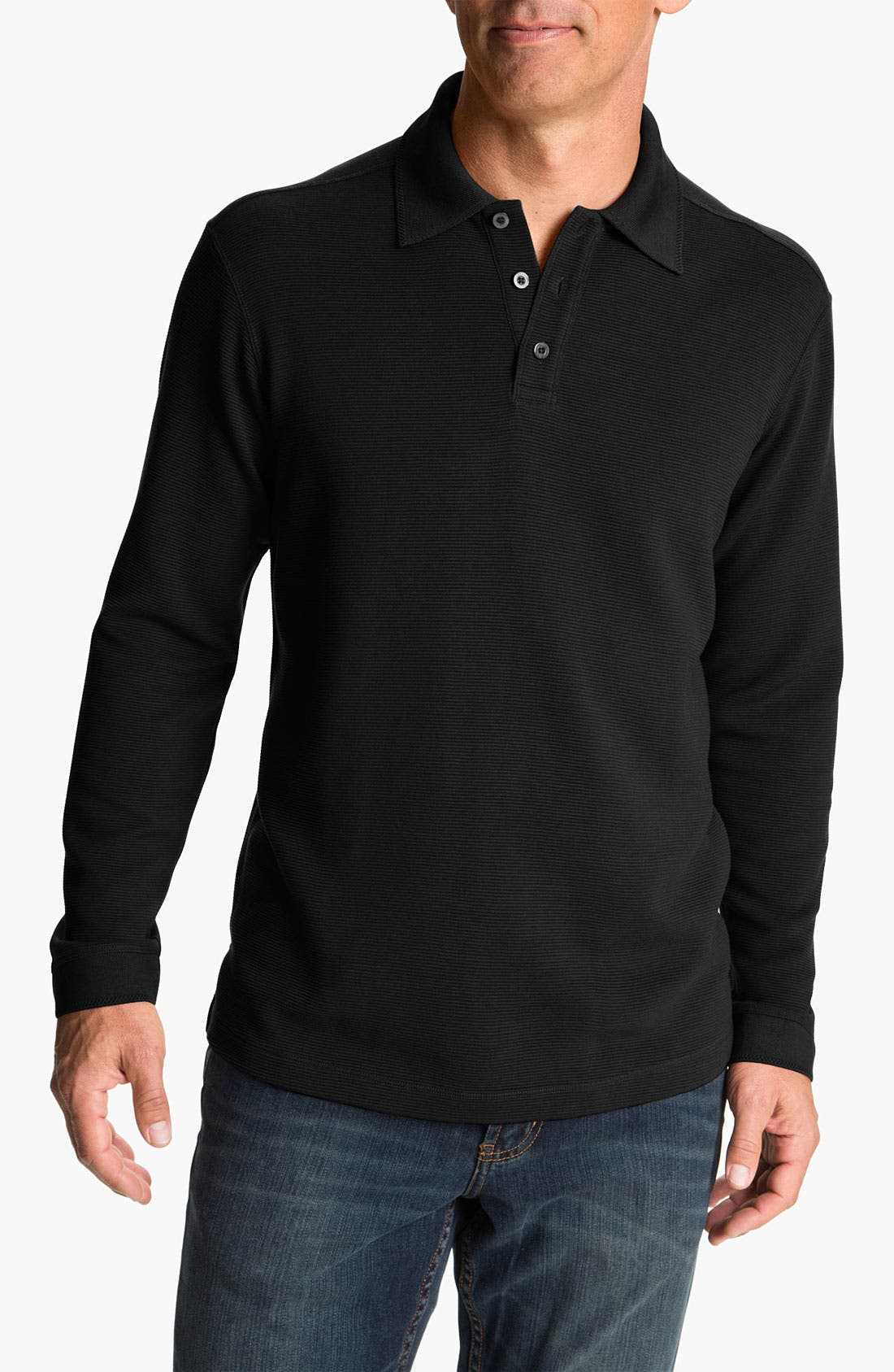 Alternate Image 1 Selected - Tommy Bahama 'Saturday Night' Long Sleeve Silk & Cotton Polo