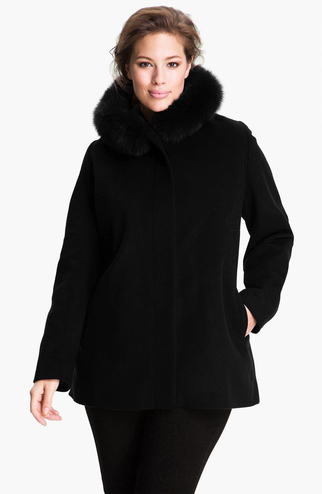 Main Image - Sachi Genuine Fox Fur Trim Hooded Coat (Plus)