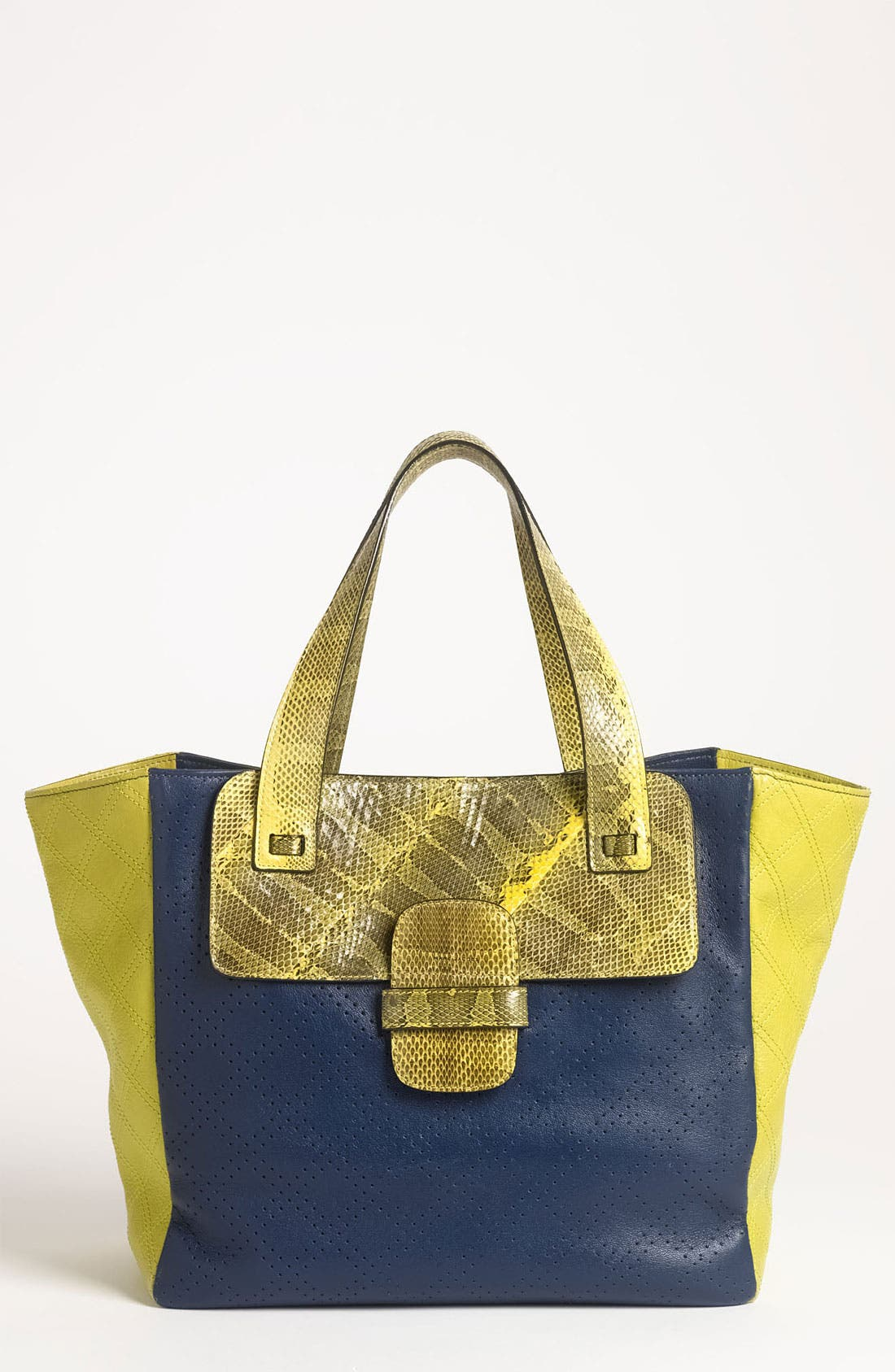 Main Image - MARC JACOBS 'Small Khaki' Perforated Tote with Genuine Snakeskin Trim