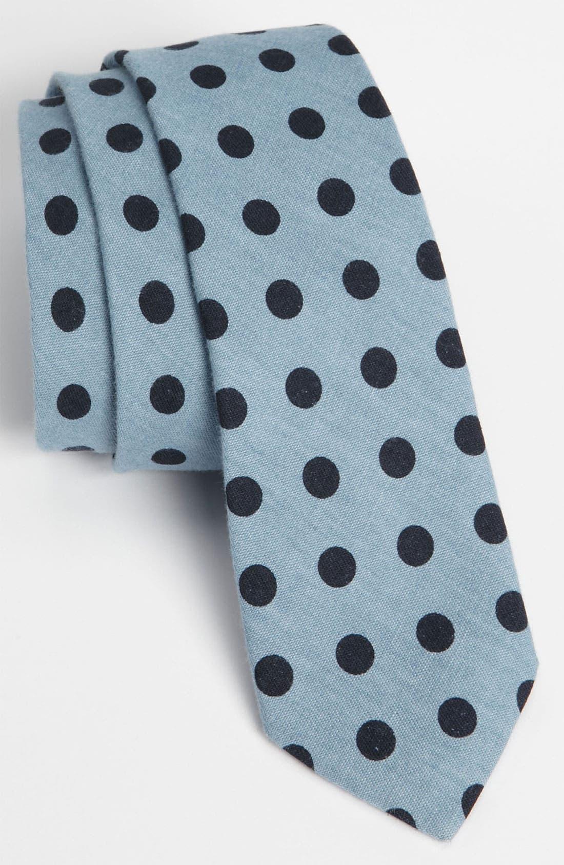 Main Image - Topman Dot Chambray Woven Tie