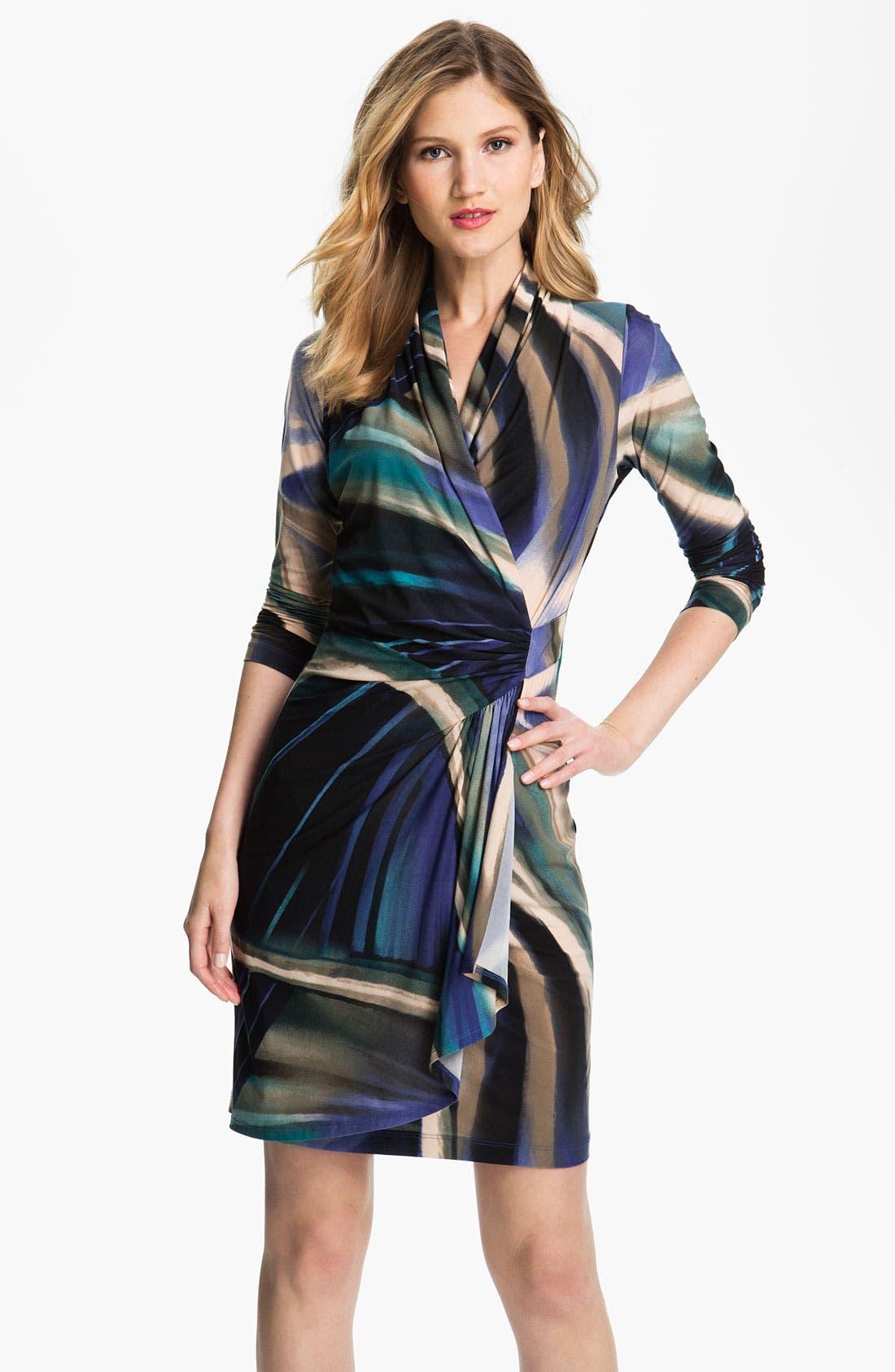 Main Image - Karen Kane Print Faux Wrap Dress