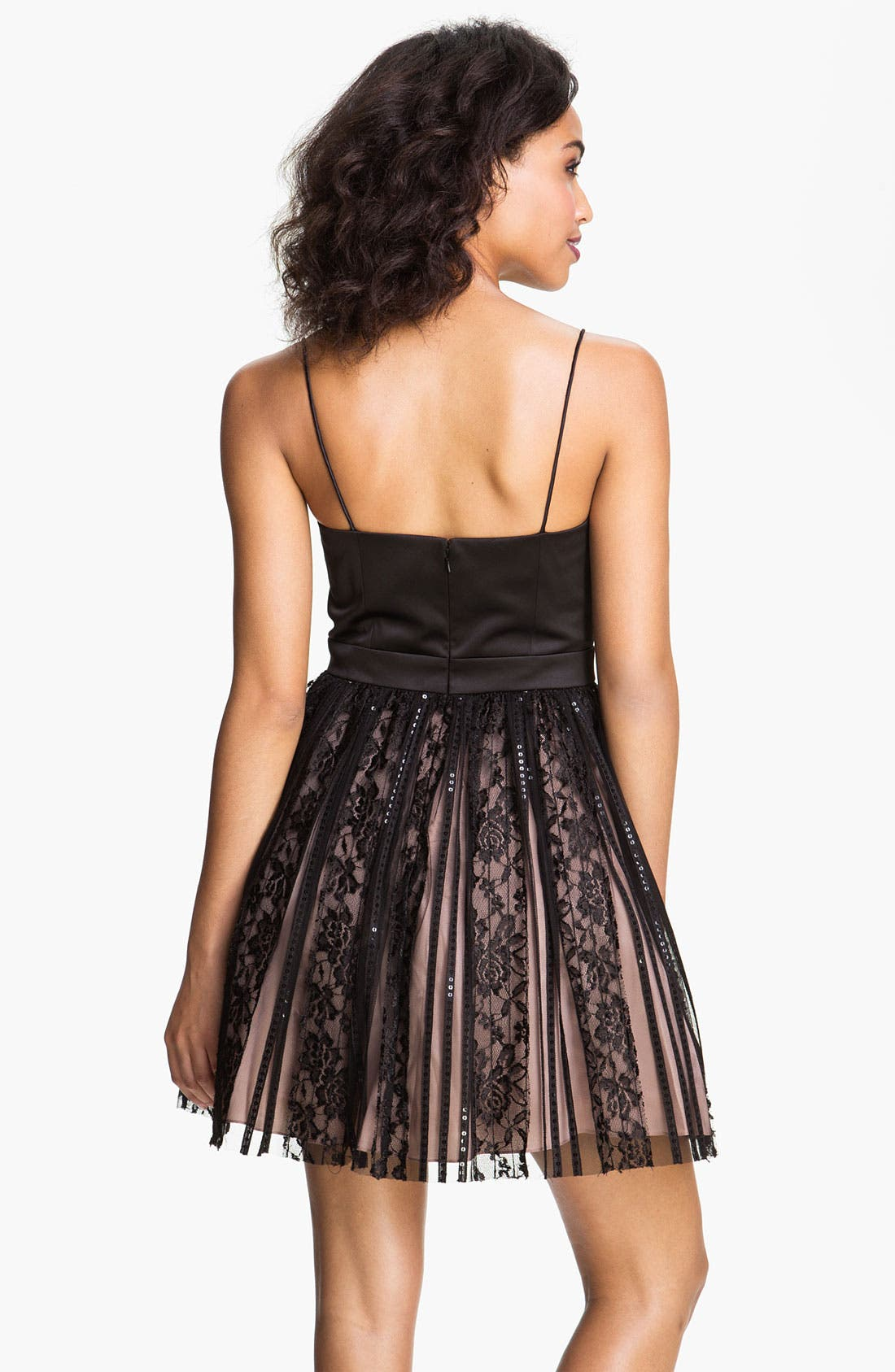 Alternate Image 2  - JS Collections Spaghetti Strap Satin & Lace Cocktail Dress