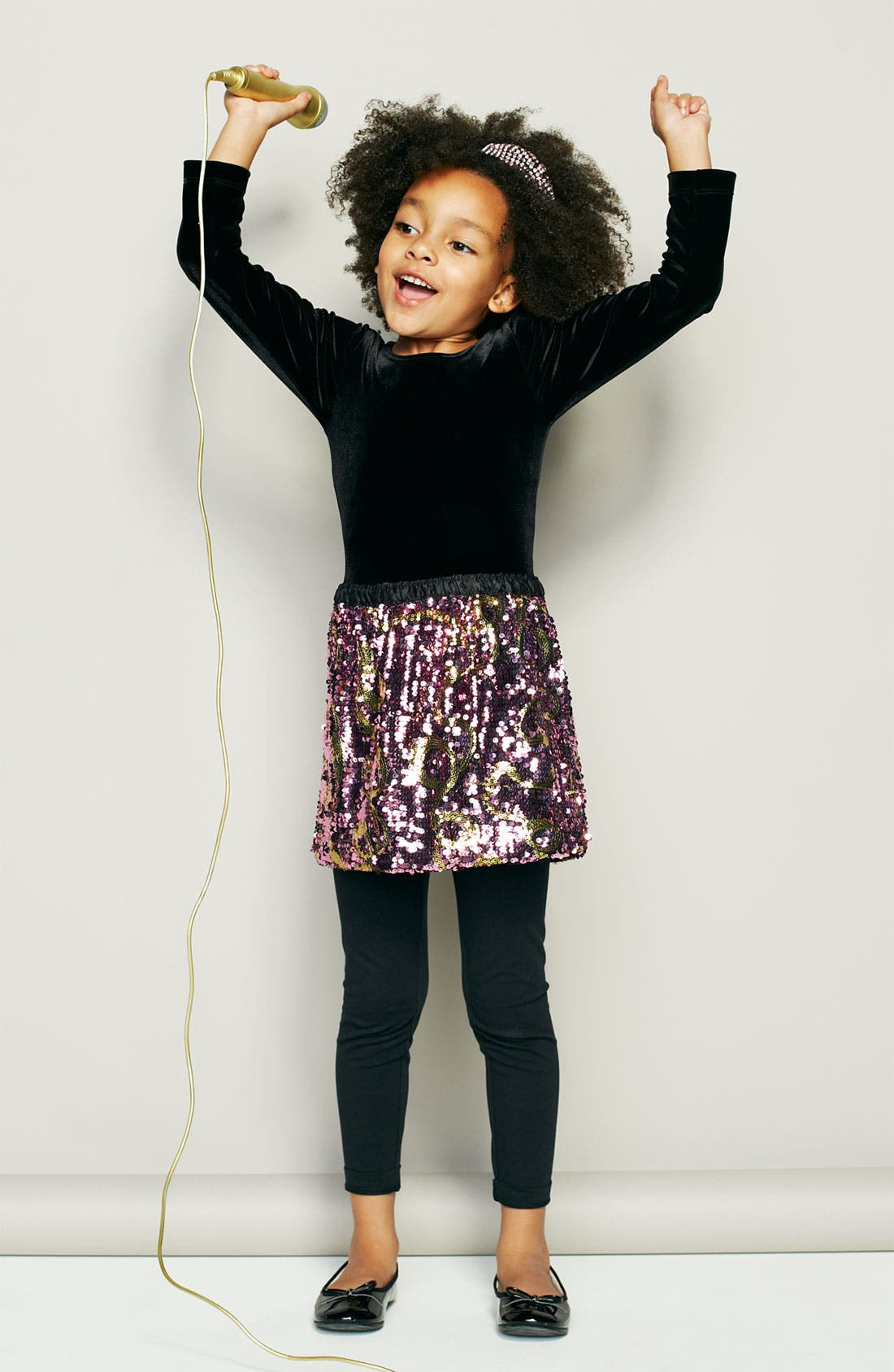 Main Image - Mignone Dress & Nordstrom Footless Tights (Little Girls)