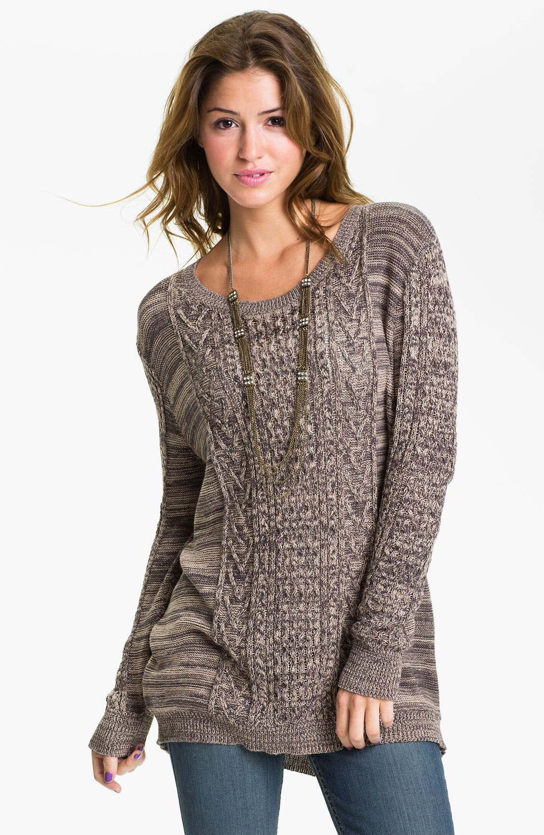Alternate Image 1 Selected - Rubbish® Cable Sweater (Juniors)