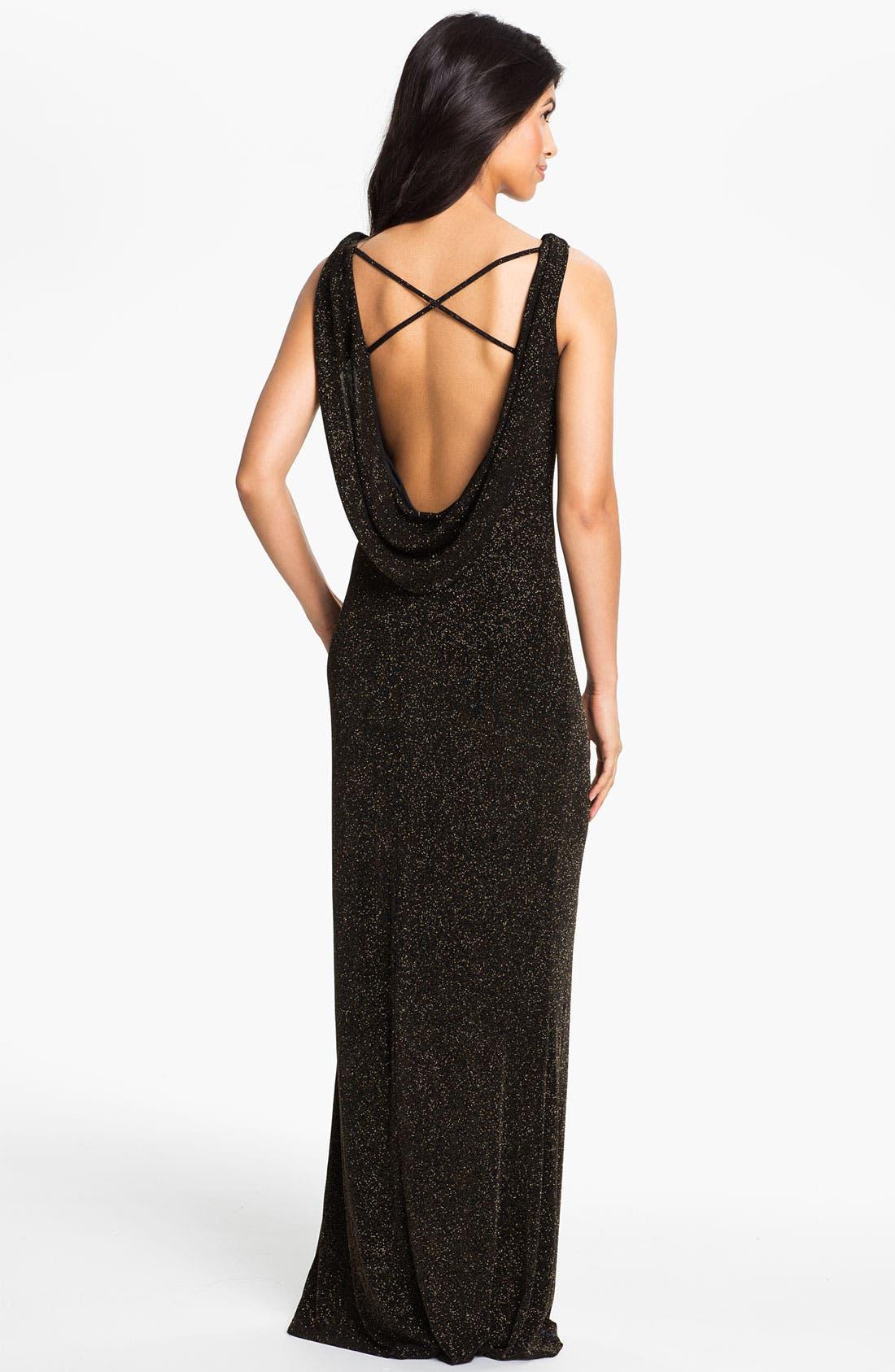 Alternate Image 2  - Adrianna Papell Drape Back Glitter Jersey Gown