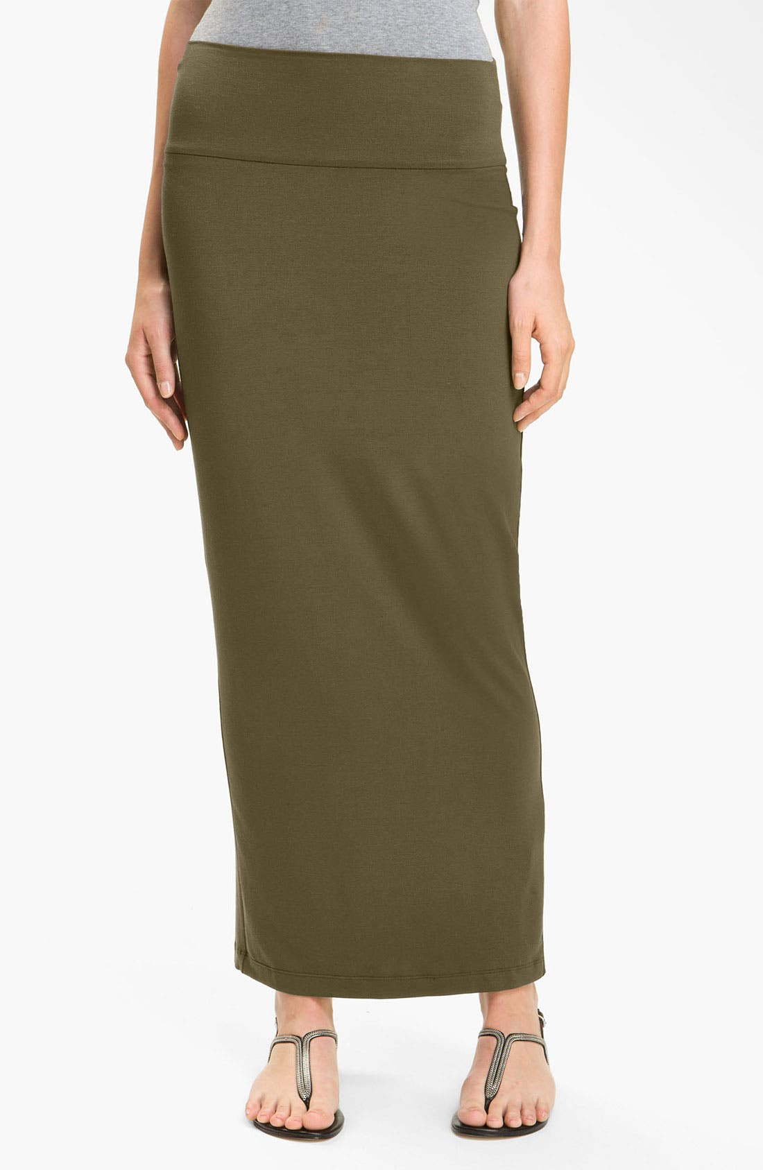 Alternate Image 1 Selected - Eileen Fisher Fold Over Slim Maxi Skirt