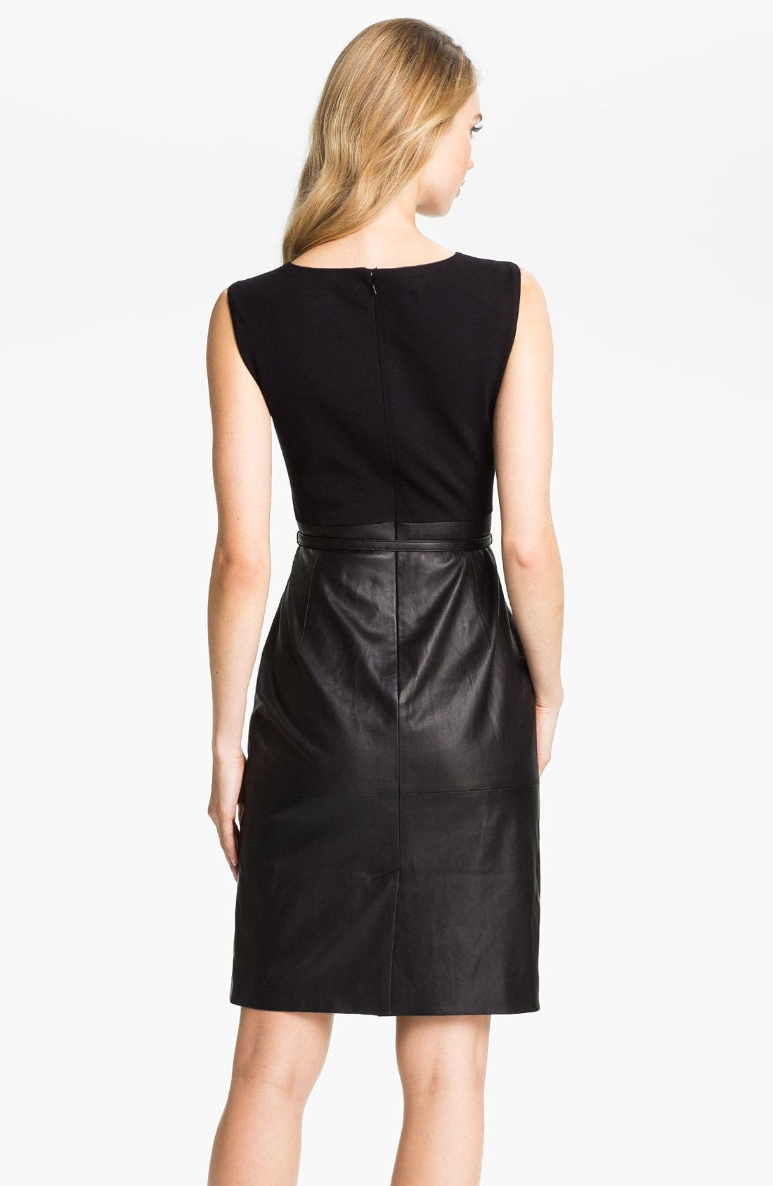 Alternate Image 2  - Classiques Entier® Belted Leather & Ponte Dress