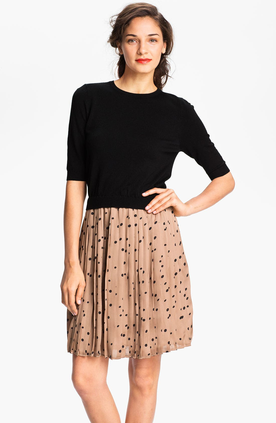 Alternate Image 1 Selected - Taylor Dresses Polka Dot Skirt Sweater Dress