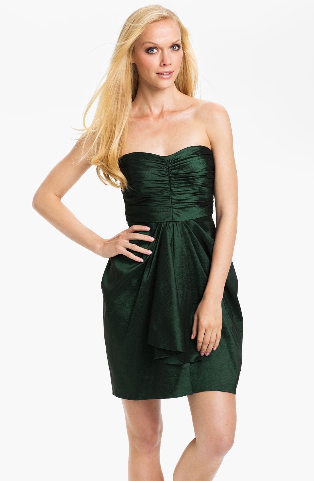 Main Image - Aidan Mattox Strapless Drape Detail Taffeta Tulip Dress