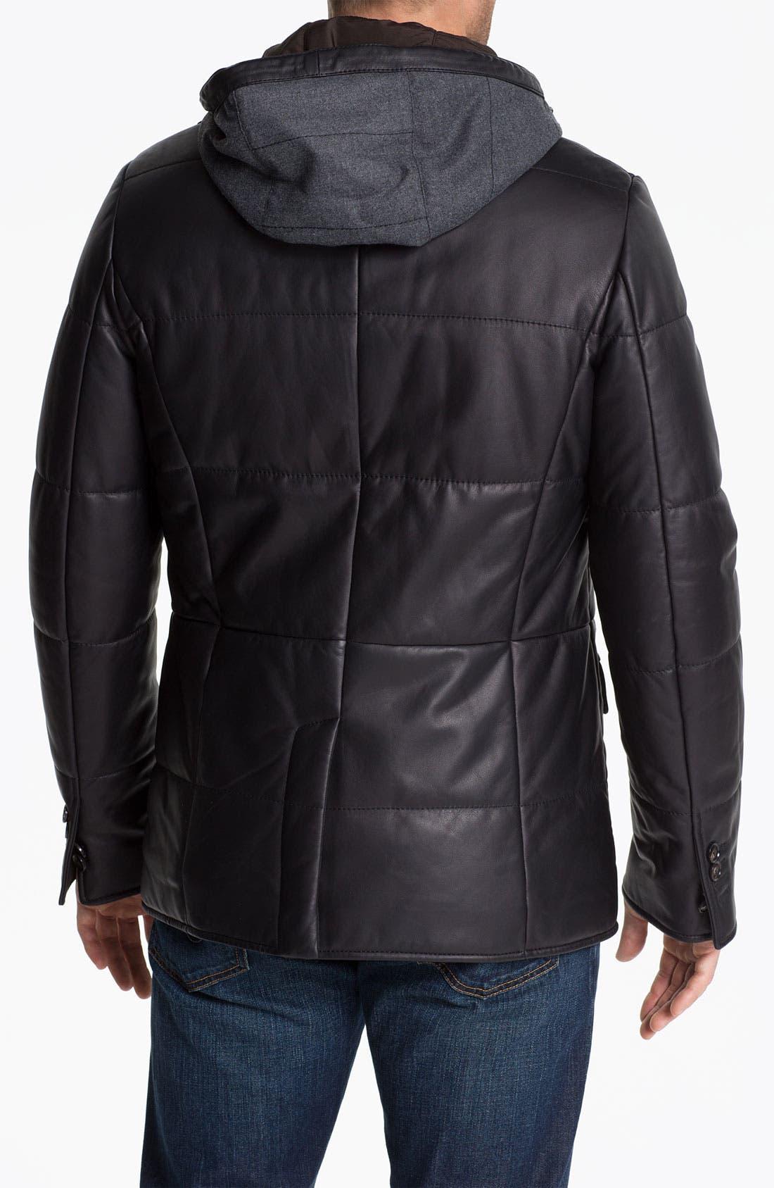 Alternate Image 2  - Pal Zileri 'Napa' Hooded Leather Jacket