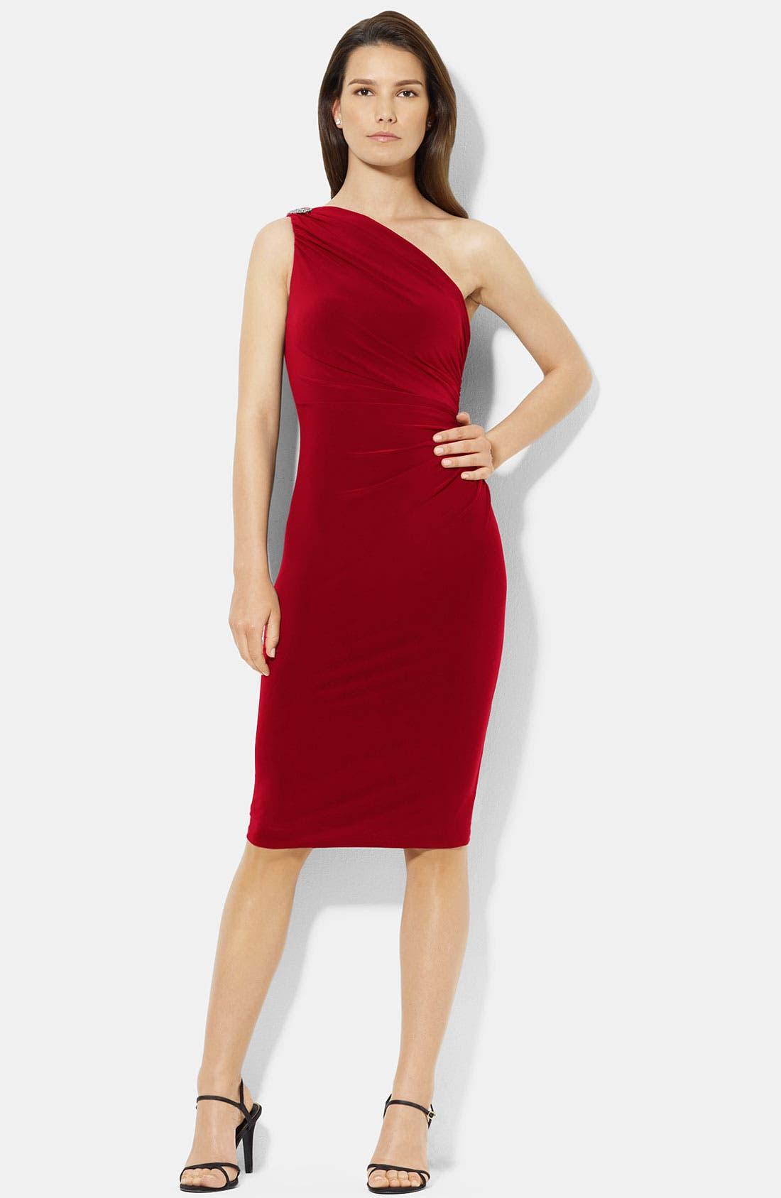 Main Image - Lauren Ralph Lauren One Shoulder Jersey Sheath Dress