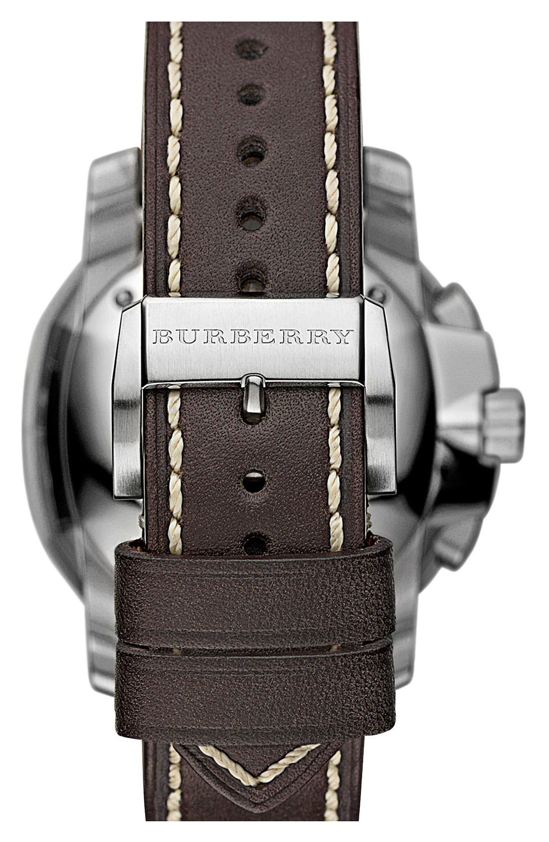 Alternate Image 4  - Burberry The Britain Chronograph Leather Strap Watch