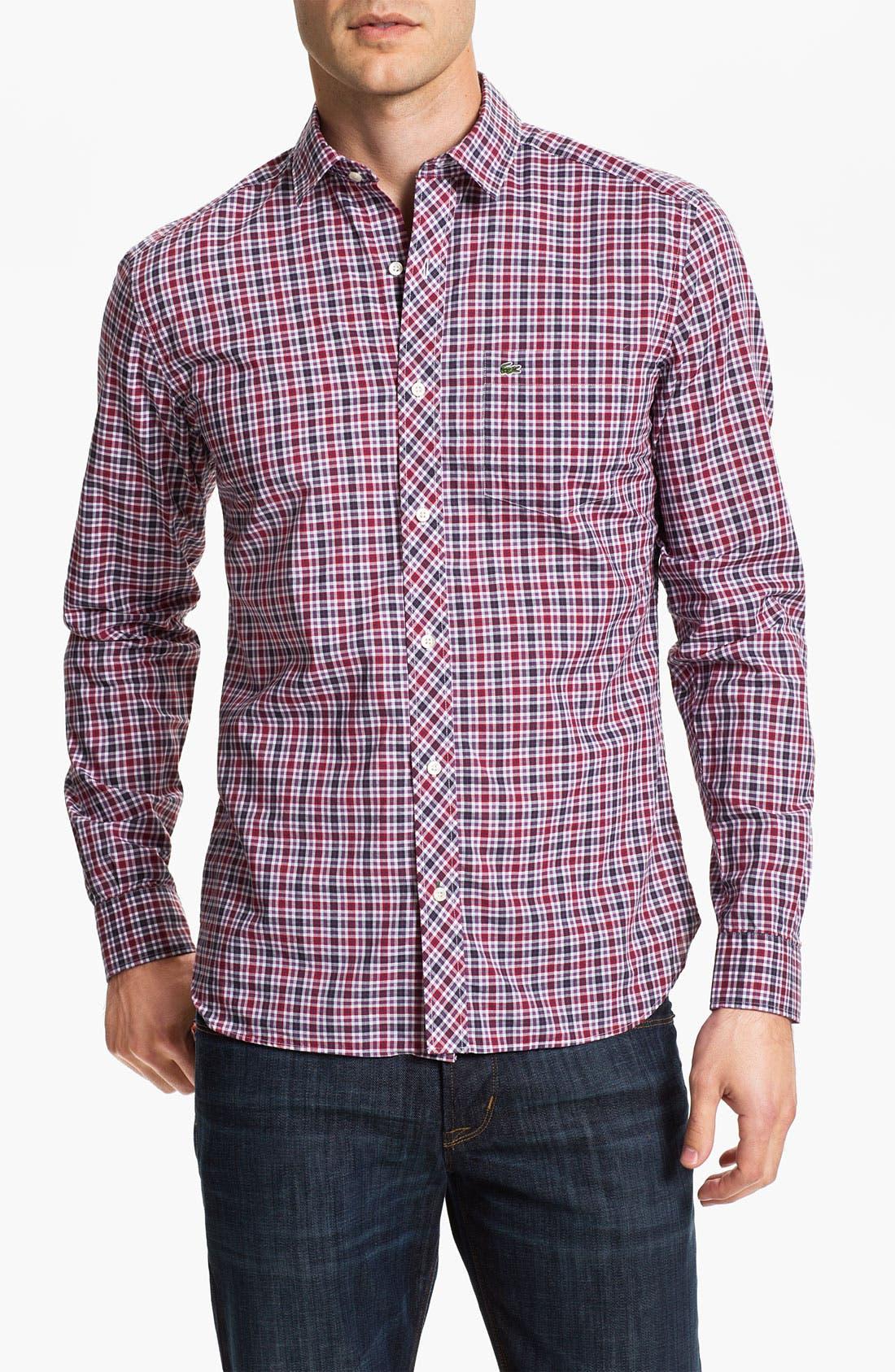 Alternate Image 1 Selected - Lacoste Slim Fit Plaid Sport Shirt