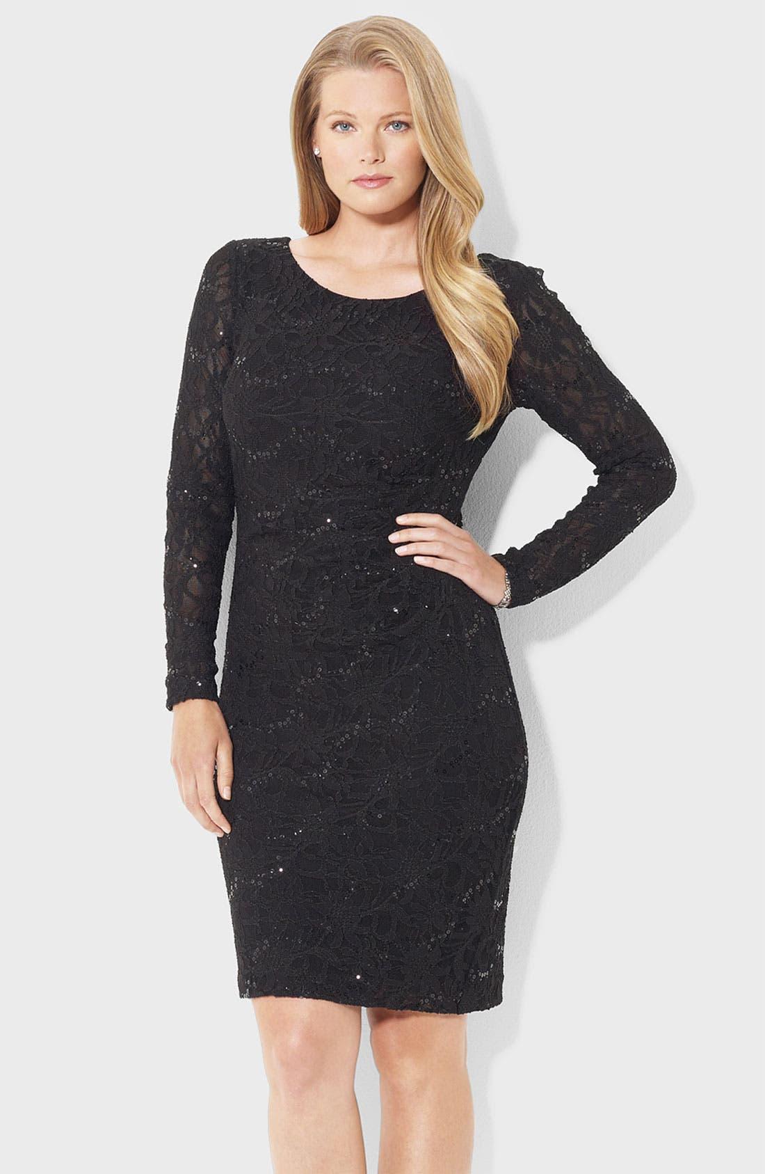 Main Image - Lauren Ralph Lauren Sequin & Lace Sheath Dress (Plus)