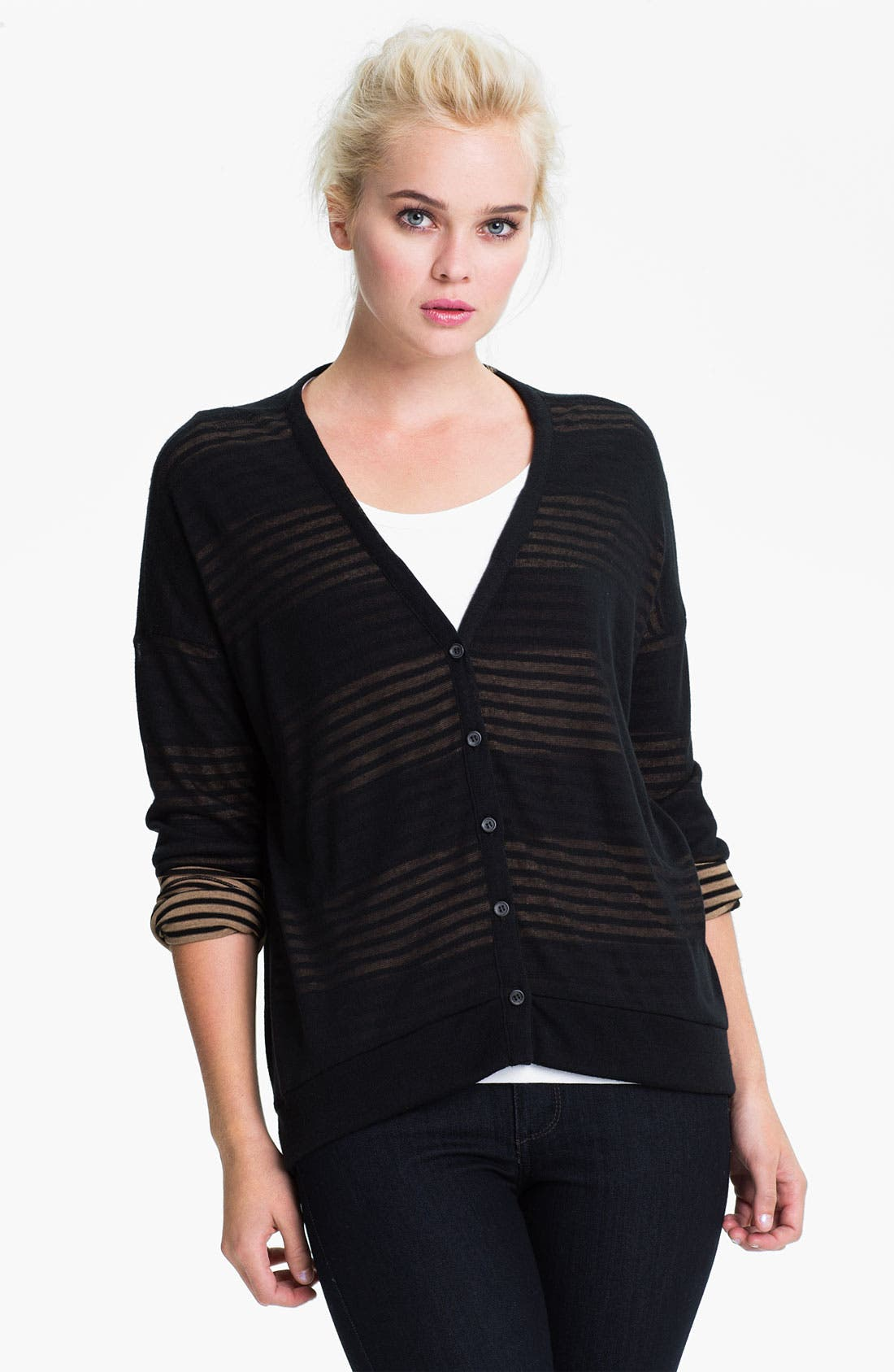 Main Image - Splendid Double Knit Stripe Cardigan