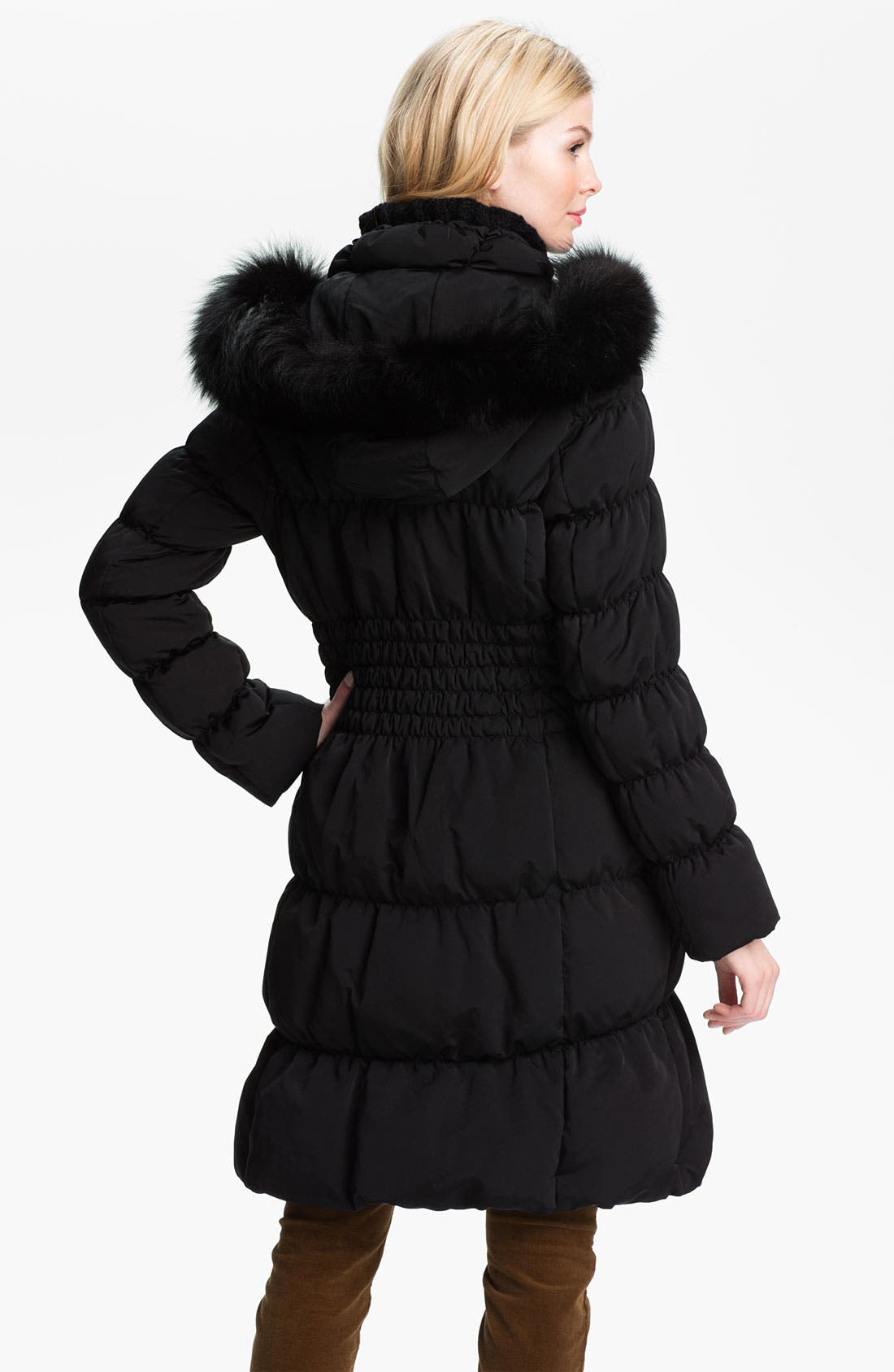 Alternate Image 2  - 1 Madison Ruched Coat with Genuine Fox Fur