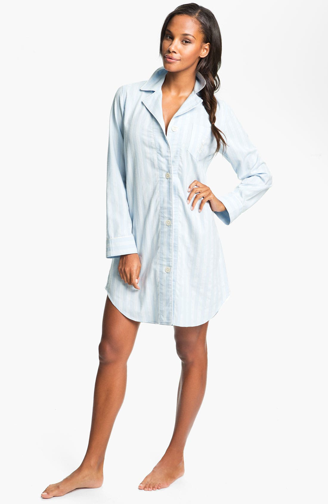 Main Image - Lauren Ralph Lauren Sleepwear Brushed Twill Nightshirt