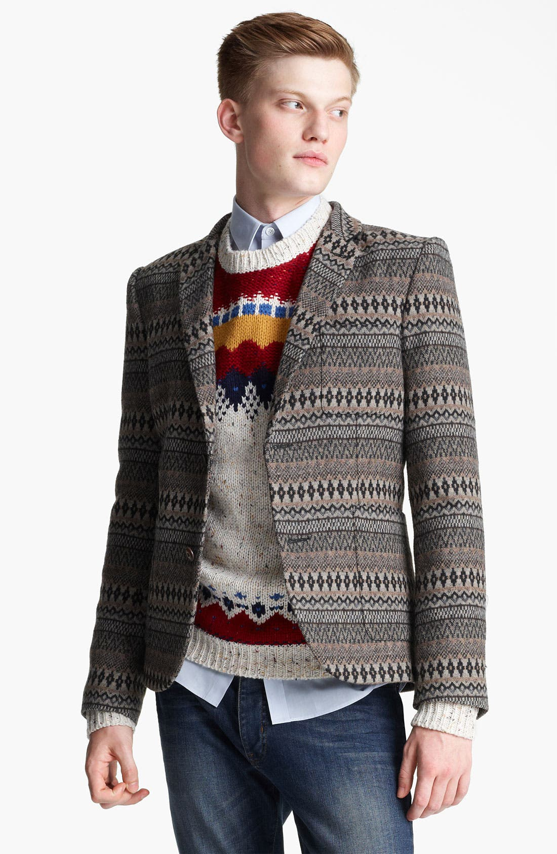 Alternate Image 1 Selected - Topman Pattern Blazer