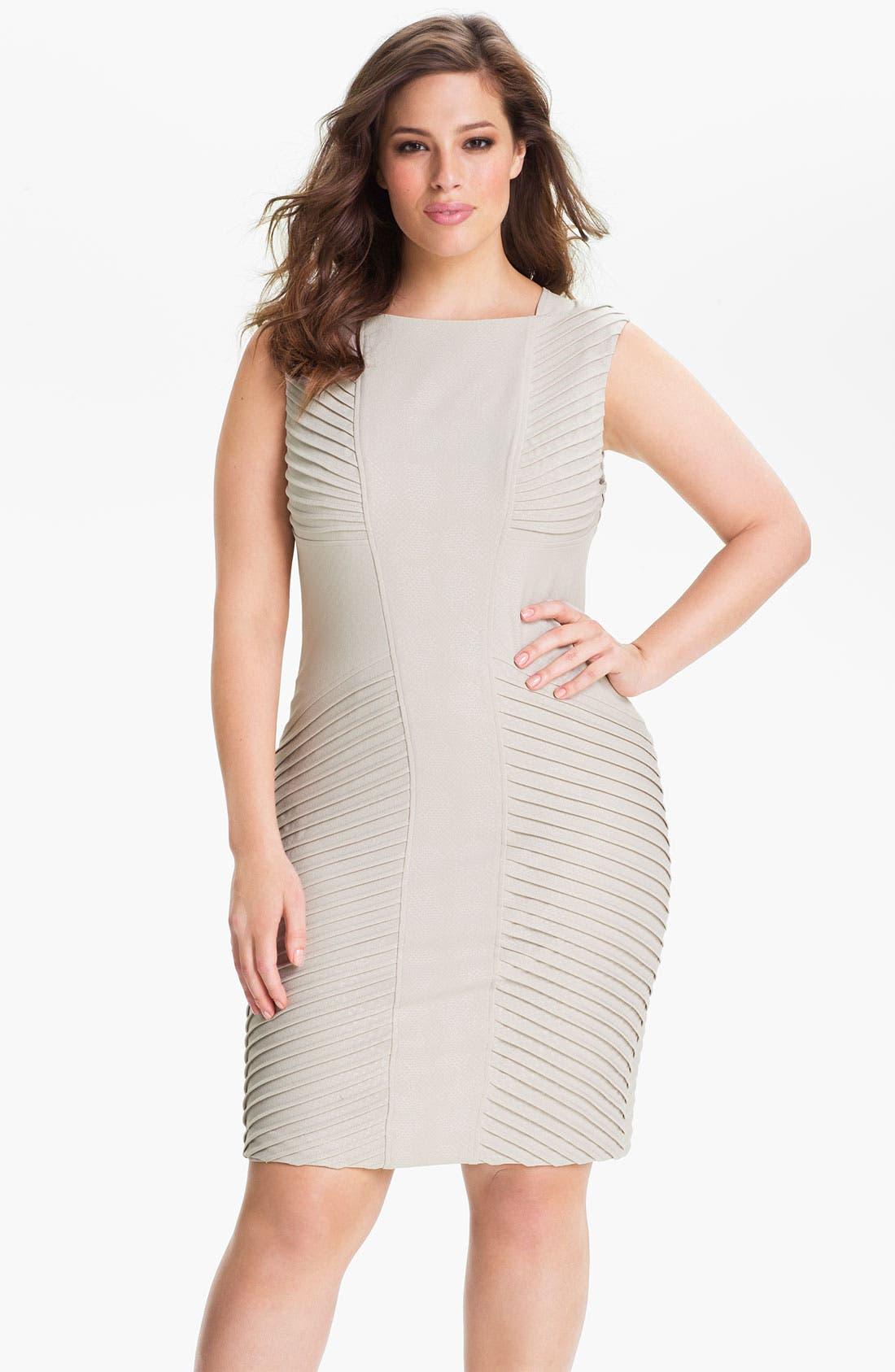 Alternate Image 1 Selected - Adrianna Papell Sleeveless Tucked Sheath Dress (Plus)