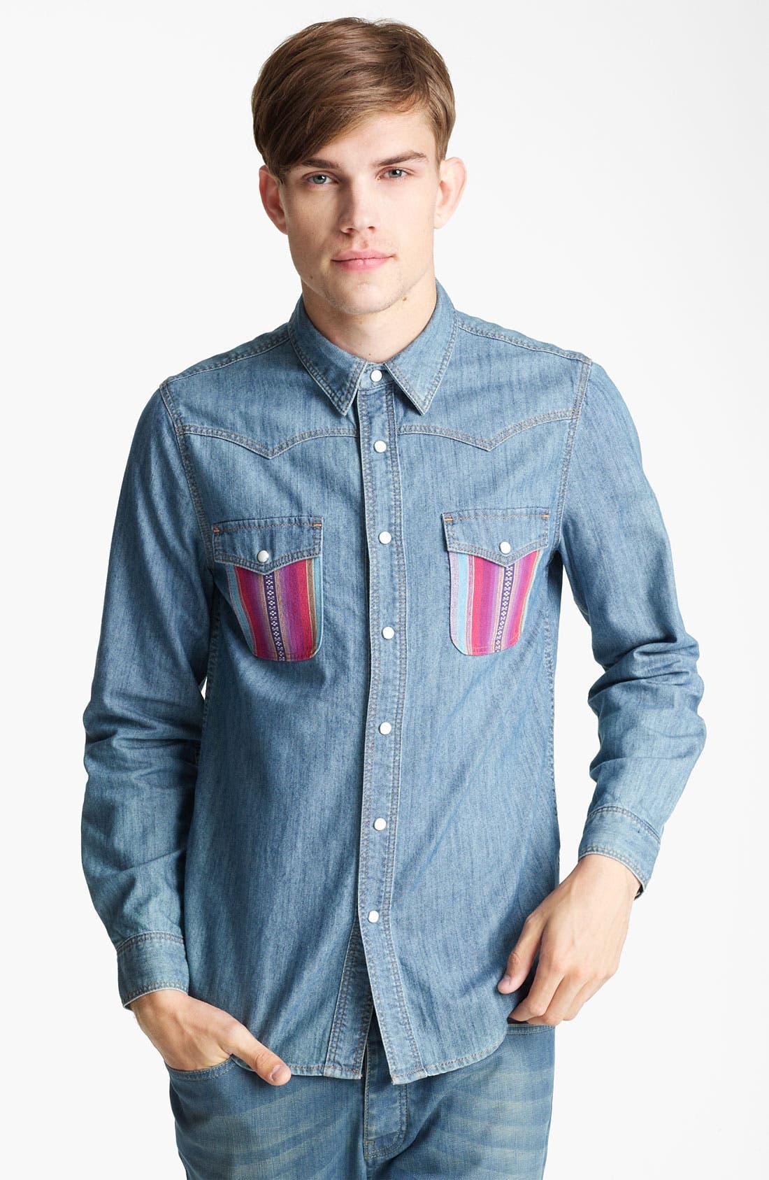 Alternate Image 1 Selected - Topman Pattern Pocket Denim Shirt