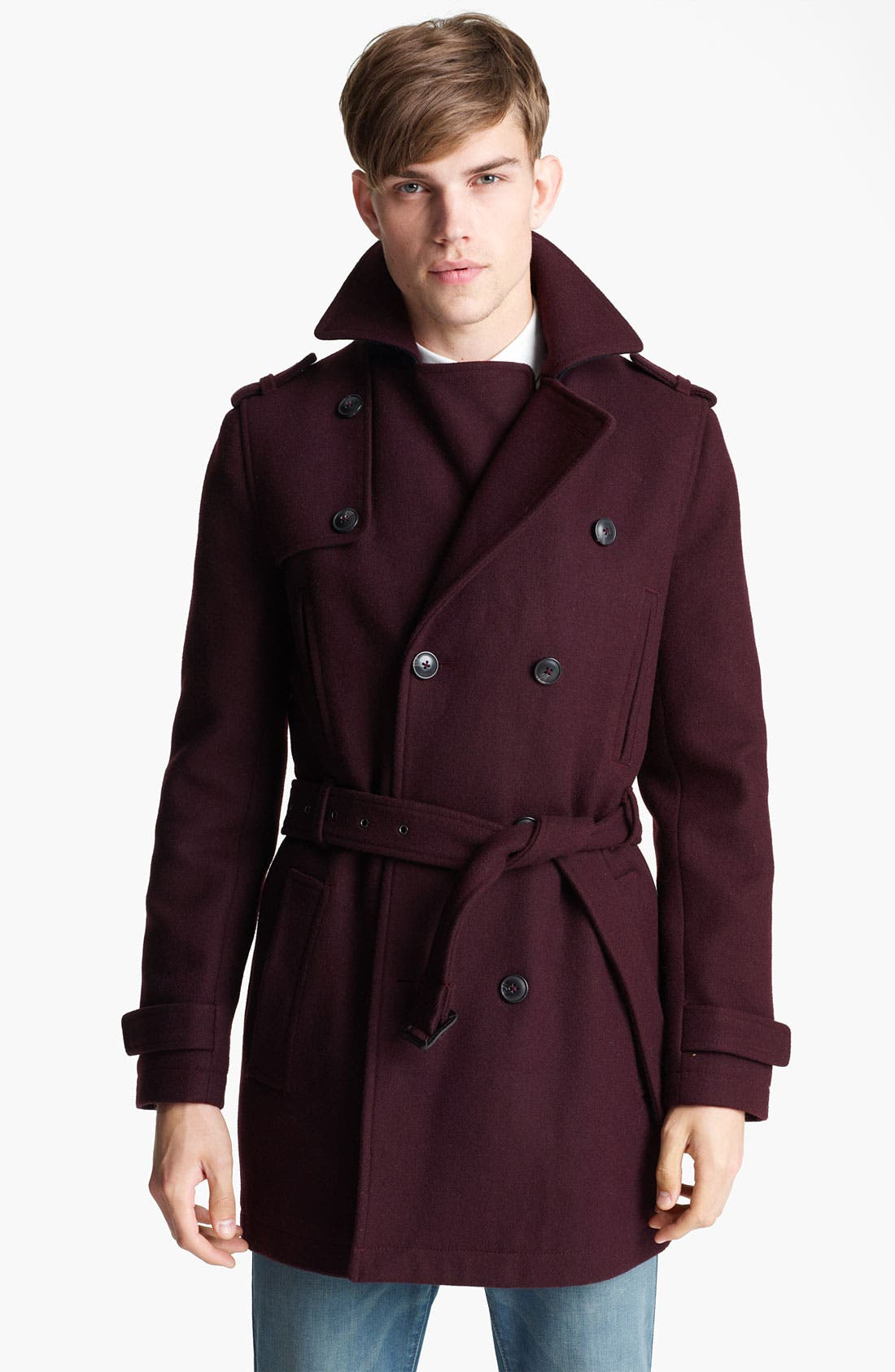 Main Image - Topman Double Breasted Wool Blend Trench Coat