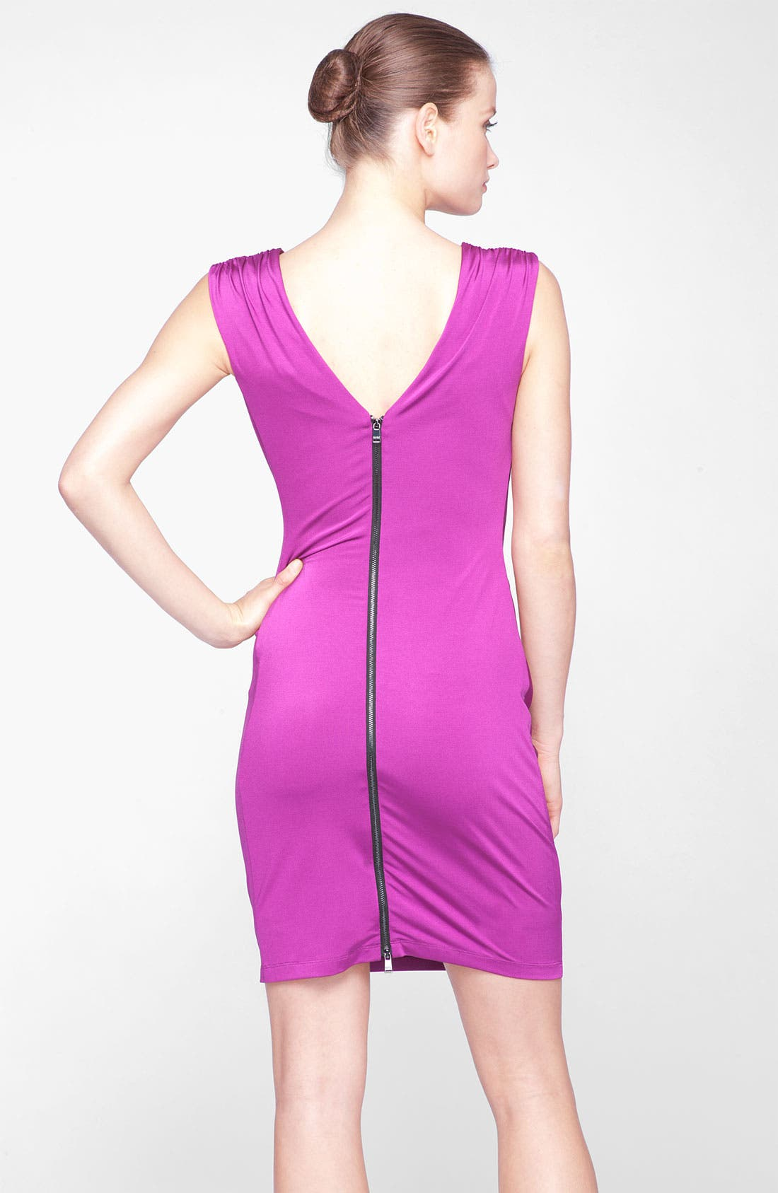 Alternate Image 2  - Marc New York by Andrew Marc Exposed Zip Ruched Jersey Sheath Dress