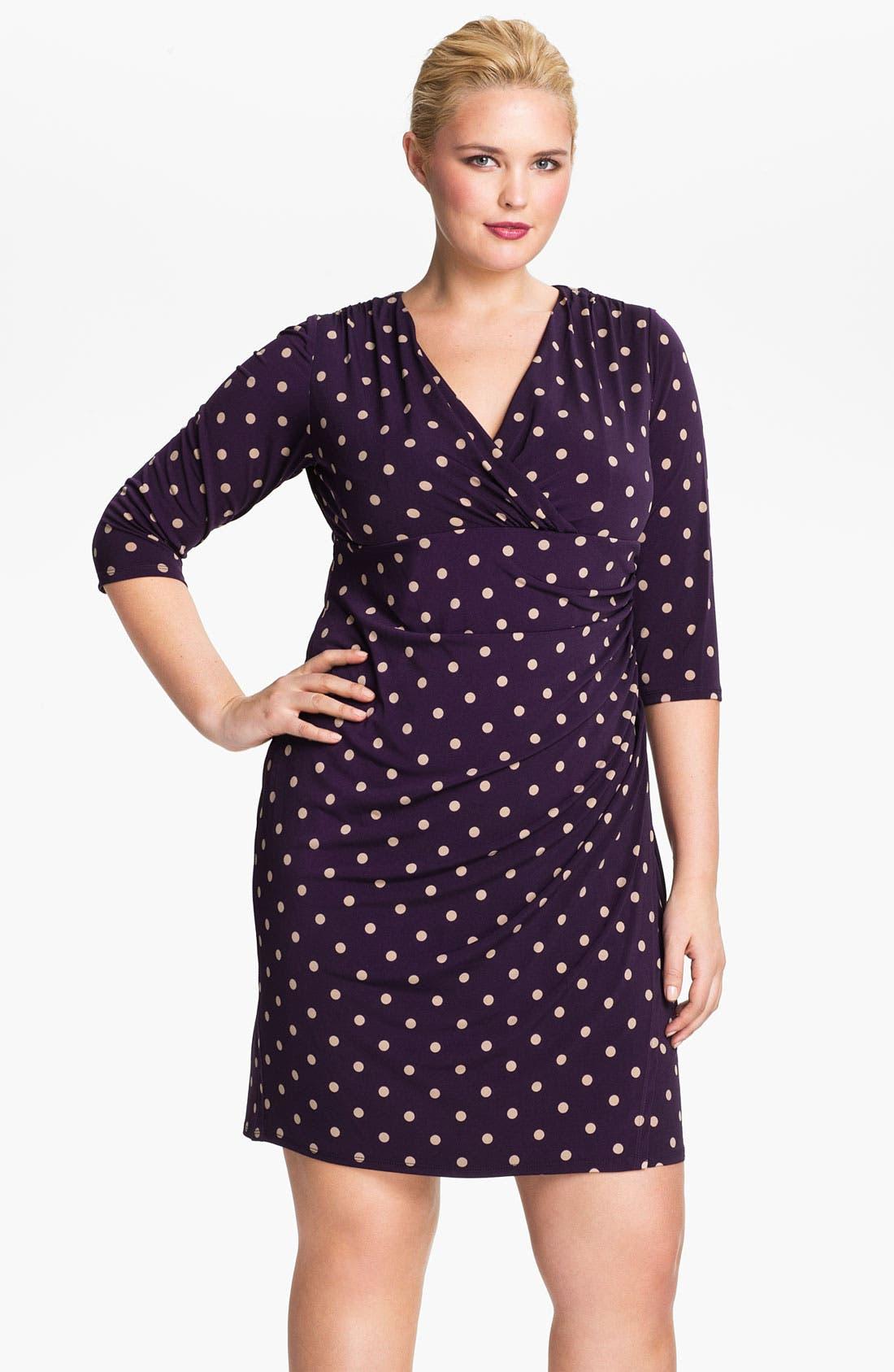 Main Image - Eliza J Dot Print Jersey Dress (Plus)