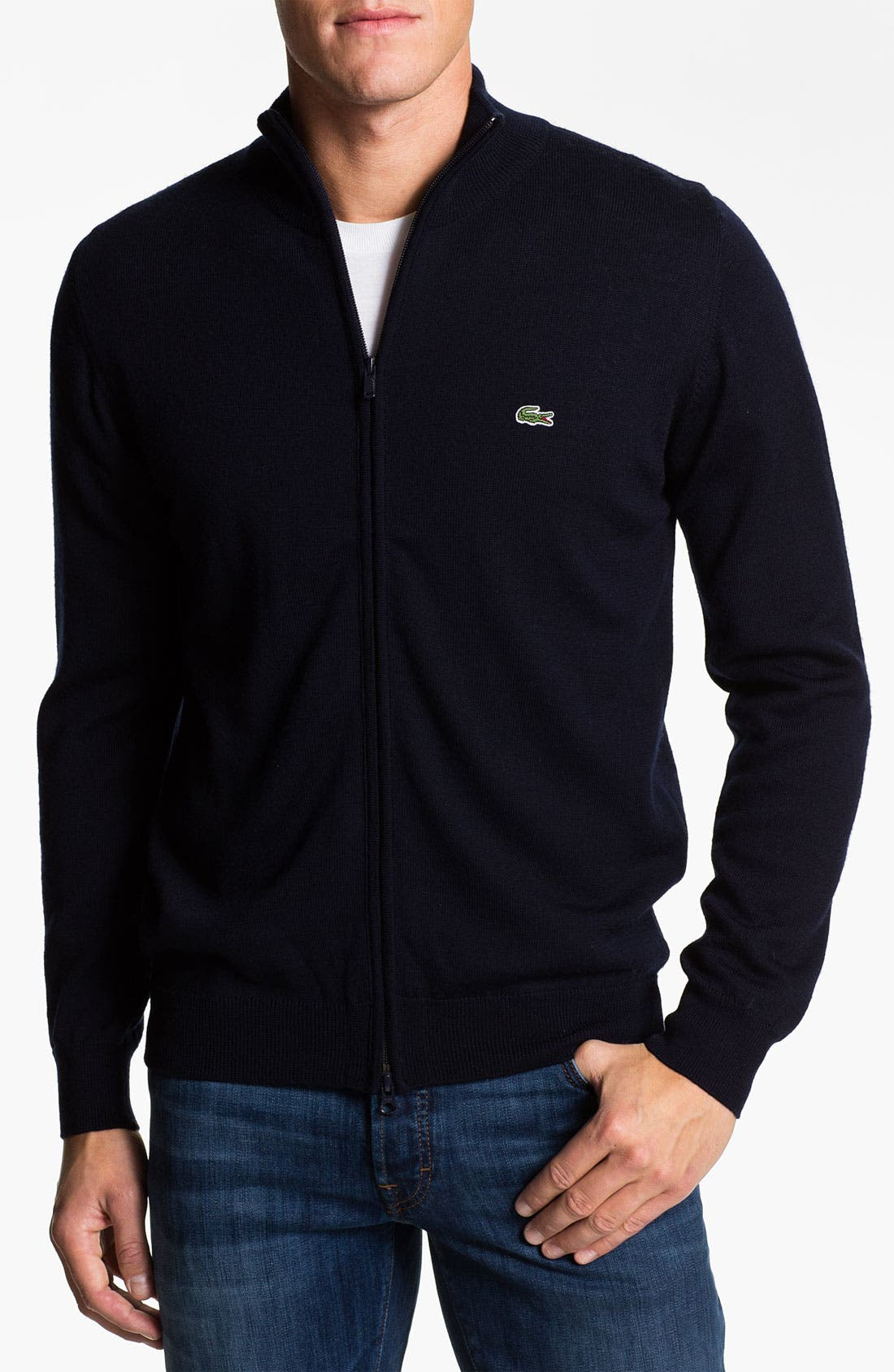 Alternate Image 1 Selected - Lacoste Mock Neck Lambswool Sweater