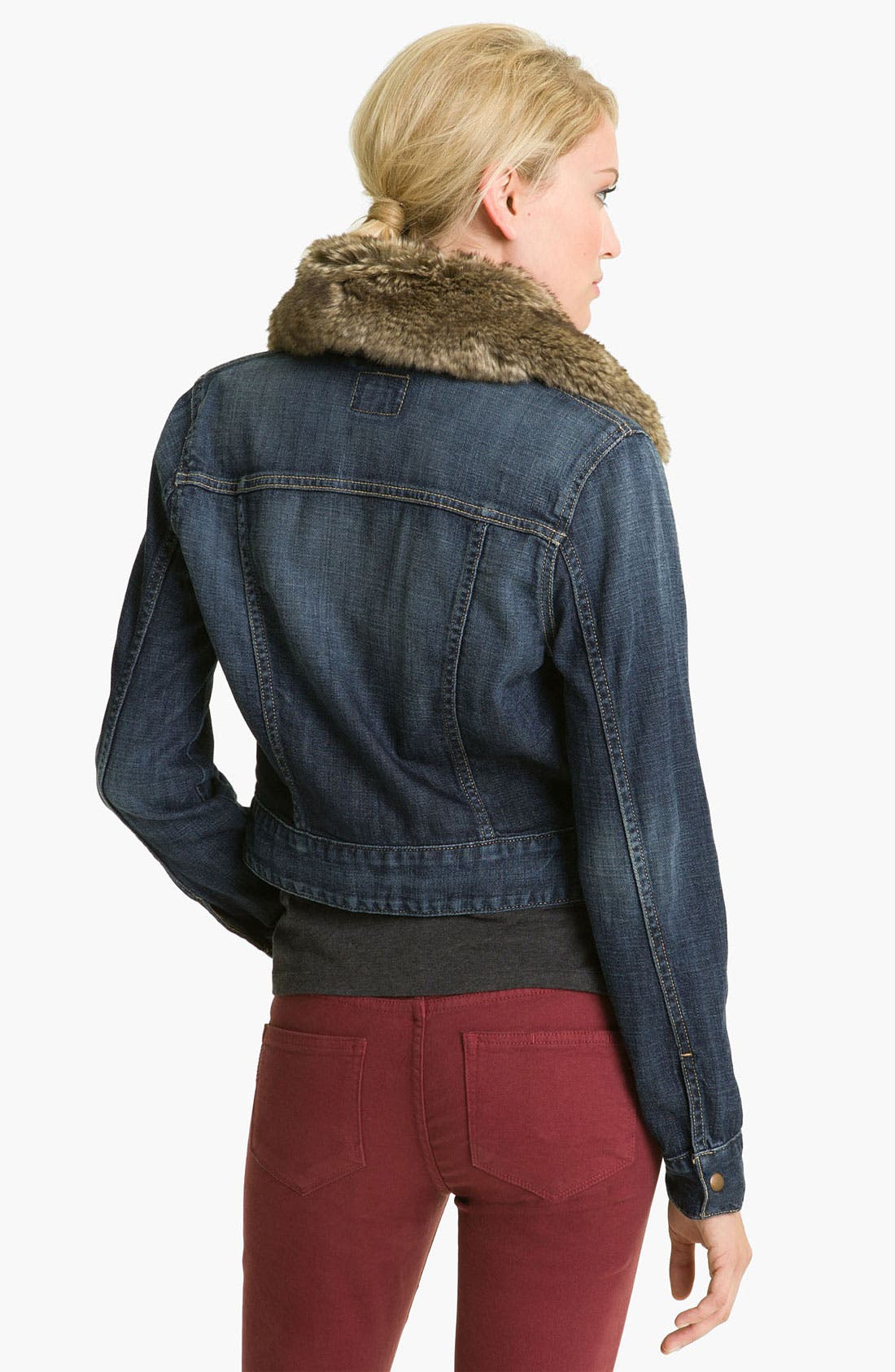 Alternate Image 2  - Lucky Brand Faux Fur Collar Denim Jacket
