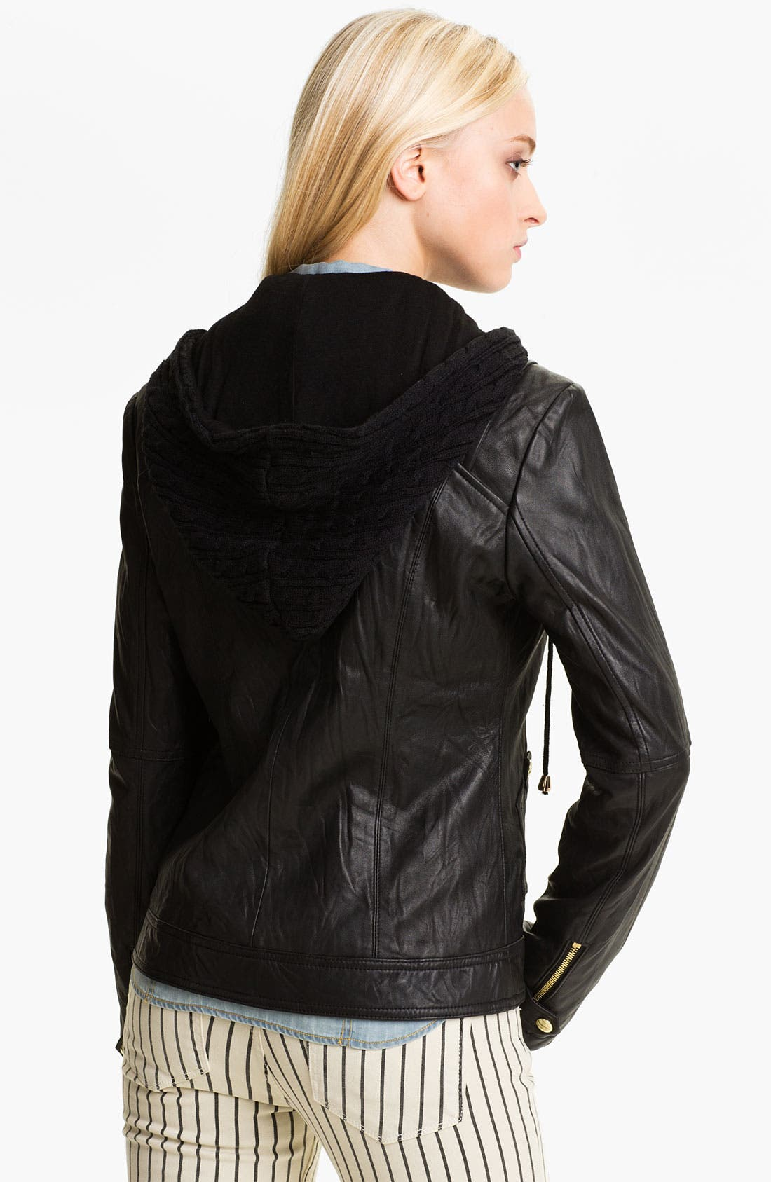 Alternate Image 2  - GUESS Cable Knit Inset Leather Jacket