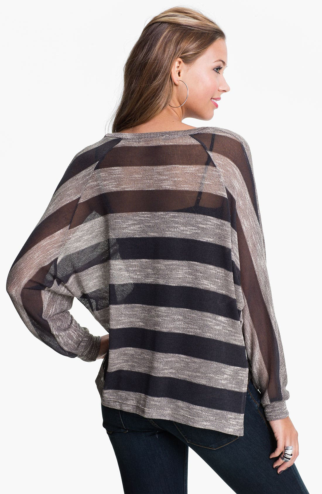 Alternate Image 2  - Twisted Angel Mix Print Dolman Sweater (Juniors)