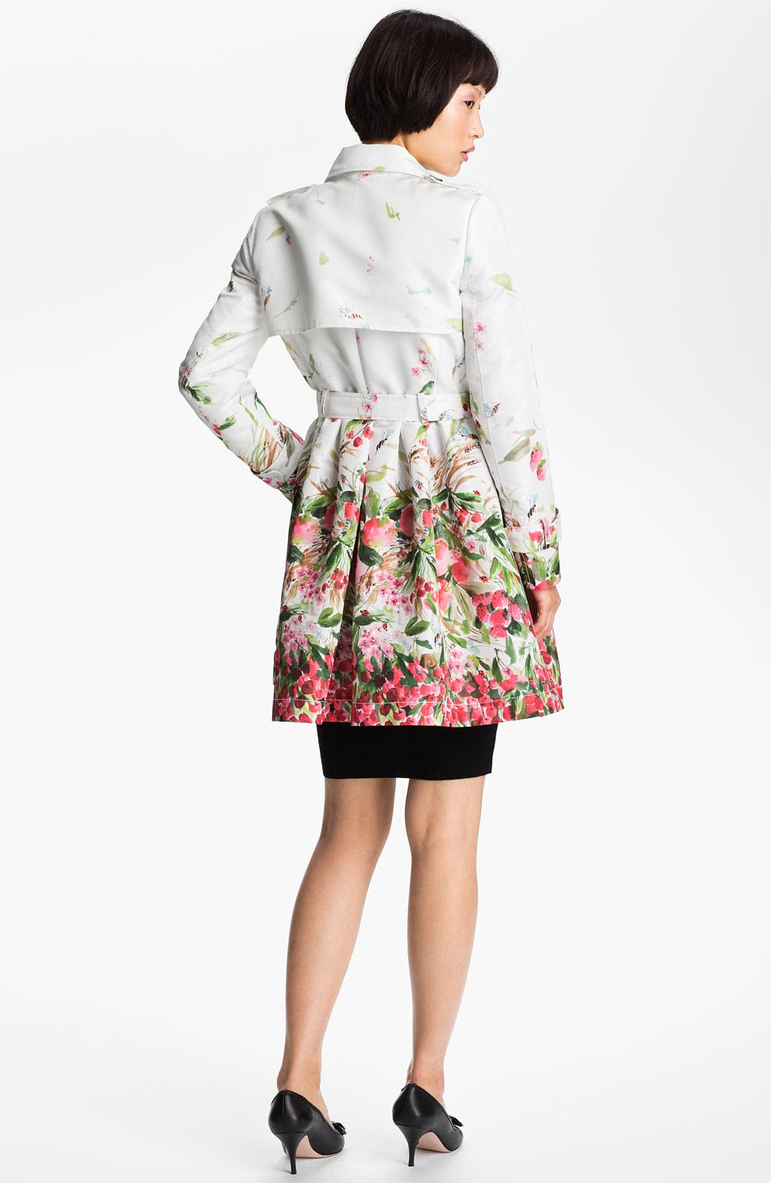 Alternate Image 2  - RED Valentino Belted Print Faille Trench Coat