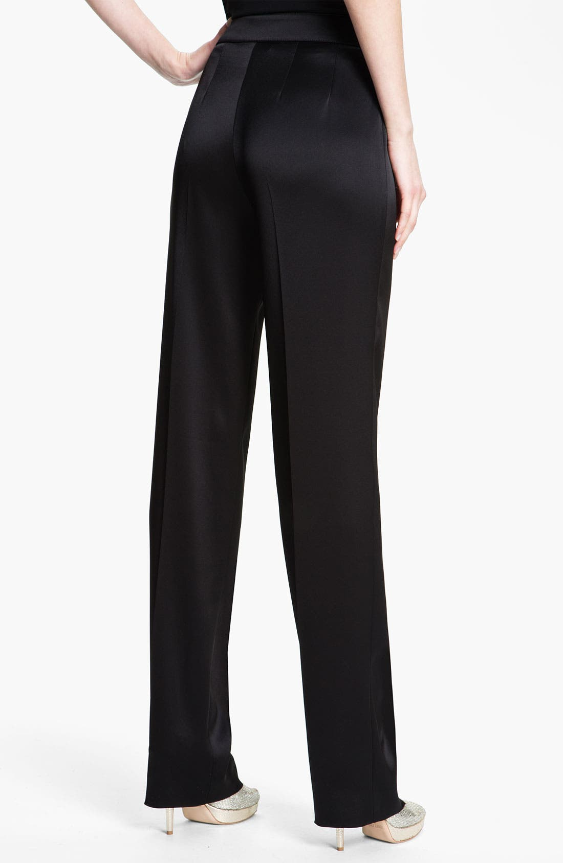 Alternate Image 3  - St. John Collection 'Diana' Straight Leg Liquid Satin Pants