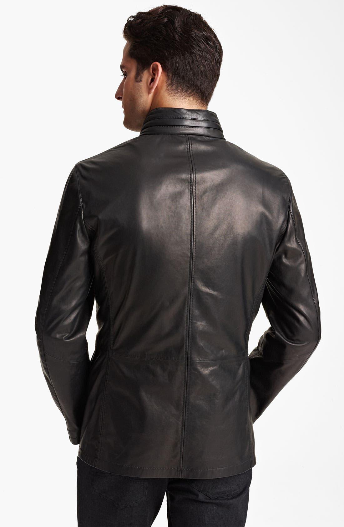 Alternate Image 2  - Armani Collezioni Leather Parka