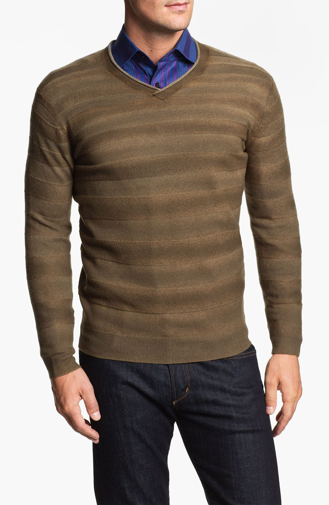 Alternate Image 1 Selected - Bugatchi Uomo V-Neck Merino Wool Sweater